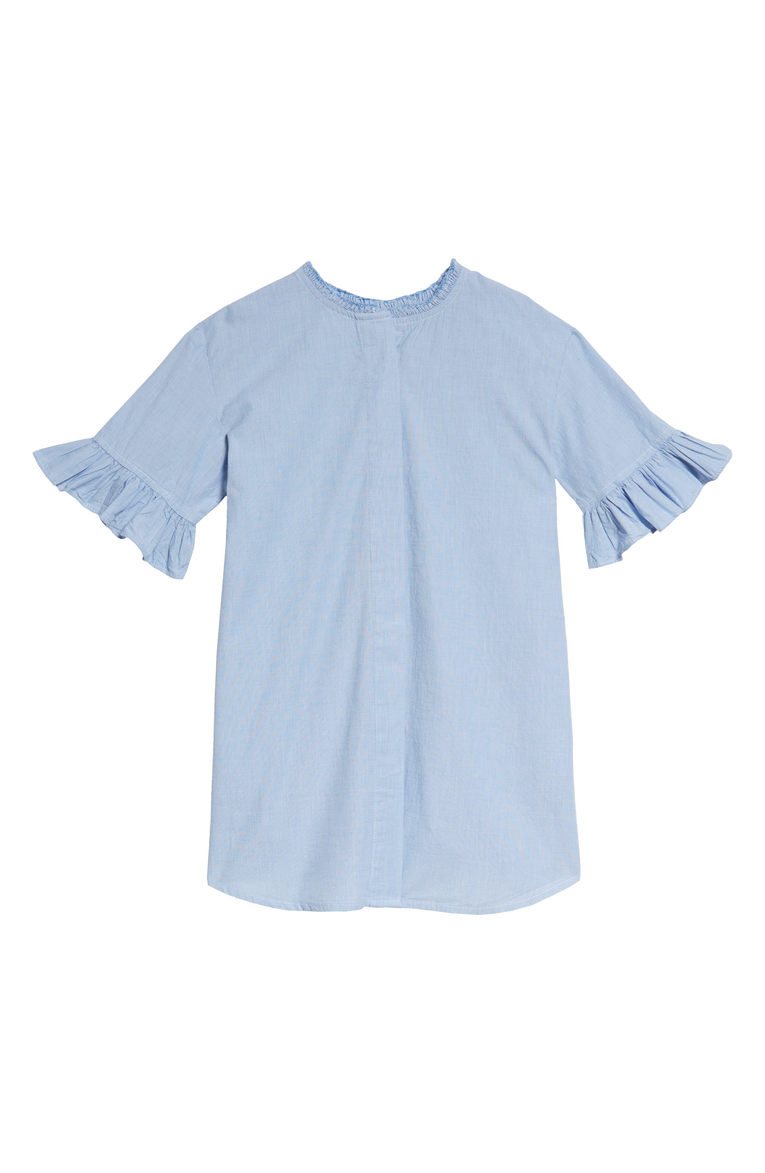 Ruffle Shirtdress,                         Main,                         color, Blue Chambray Grid
