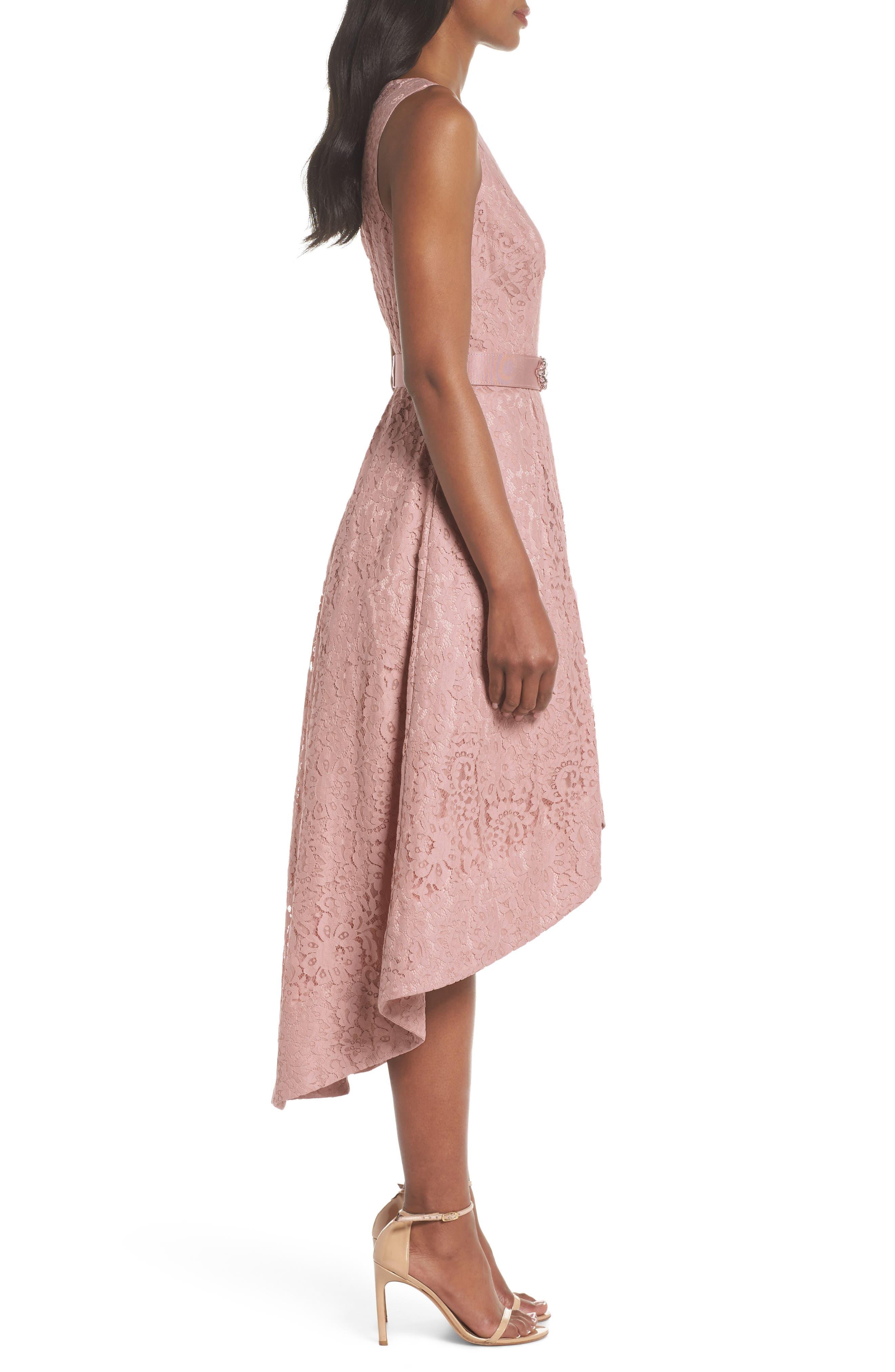 Belted Lace High/Low Dress,                             Alternate thumbnail 3, color,                             Blush