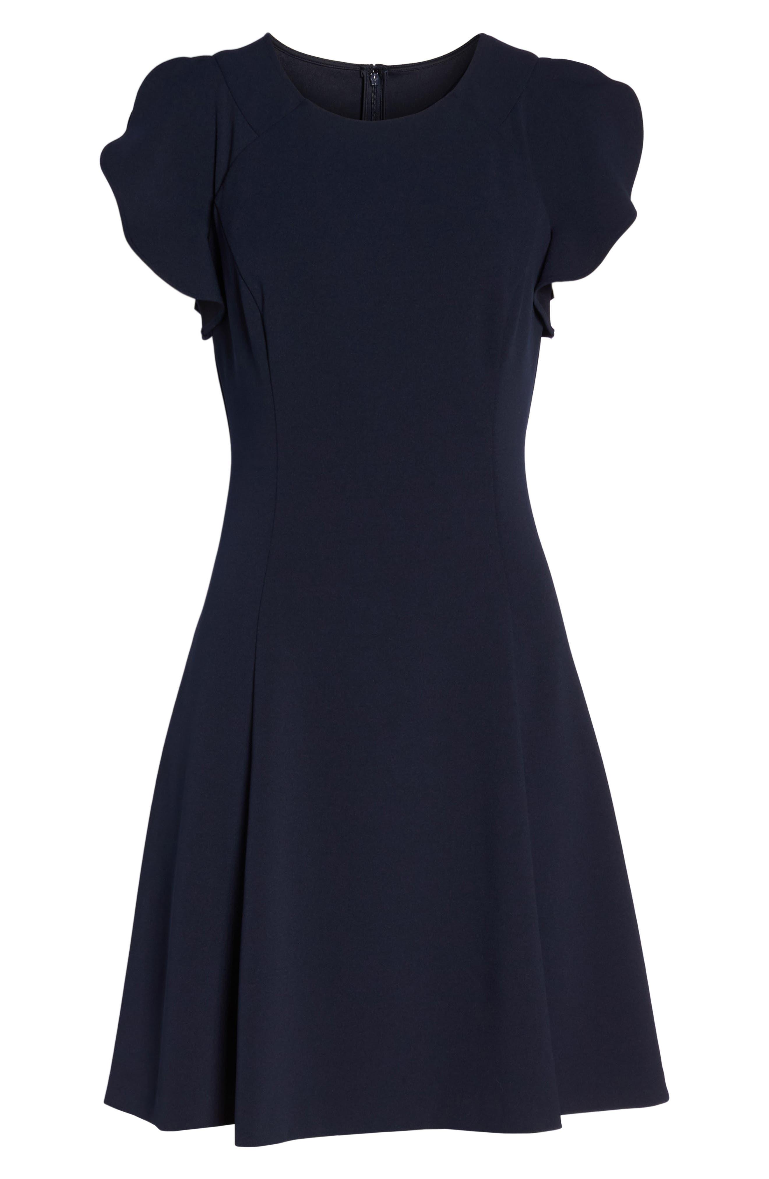 Cap Sleeve Scuba Crepe Fit & Flare Dress,                             Alternate thumbnail 7, color,                             Navy