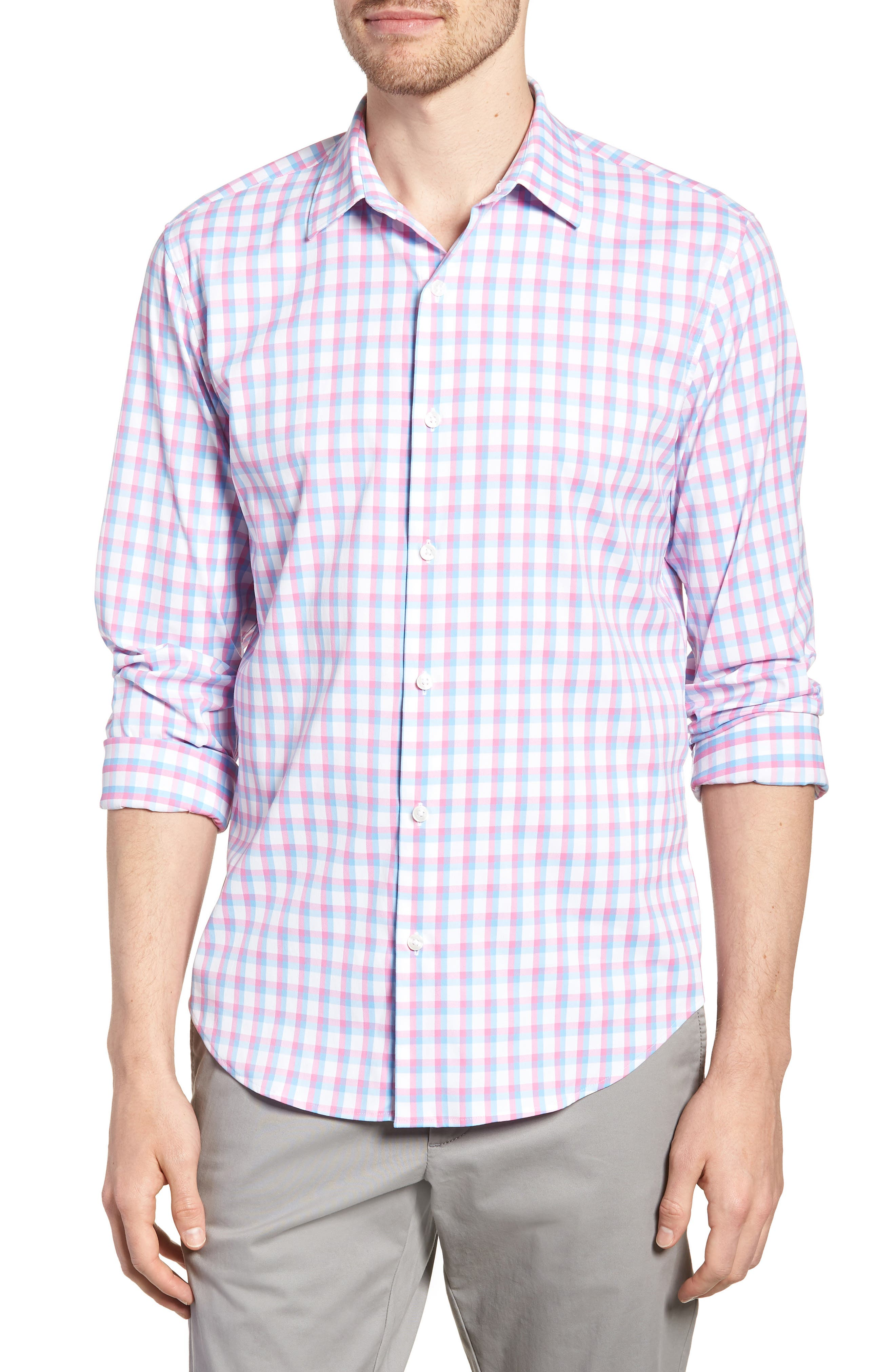 Slim Fit Check Performance Sport Shirt,                             Main thumbnail 1, color,                             Ultimo Check - Pacific Pink