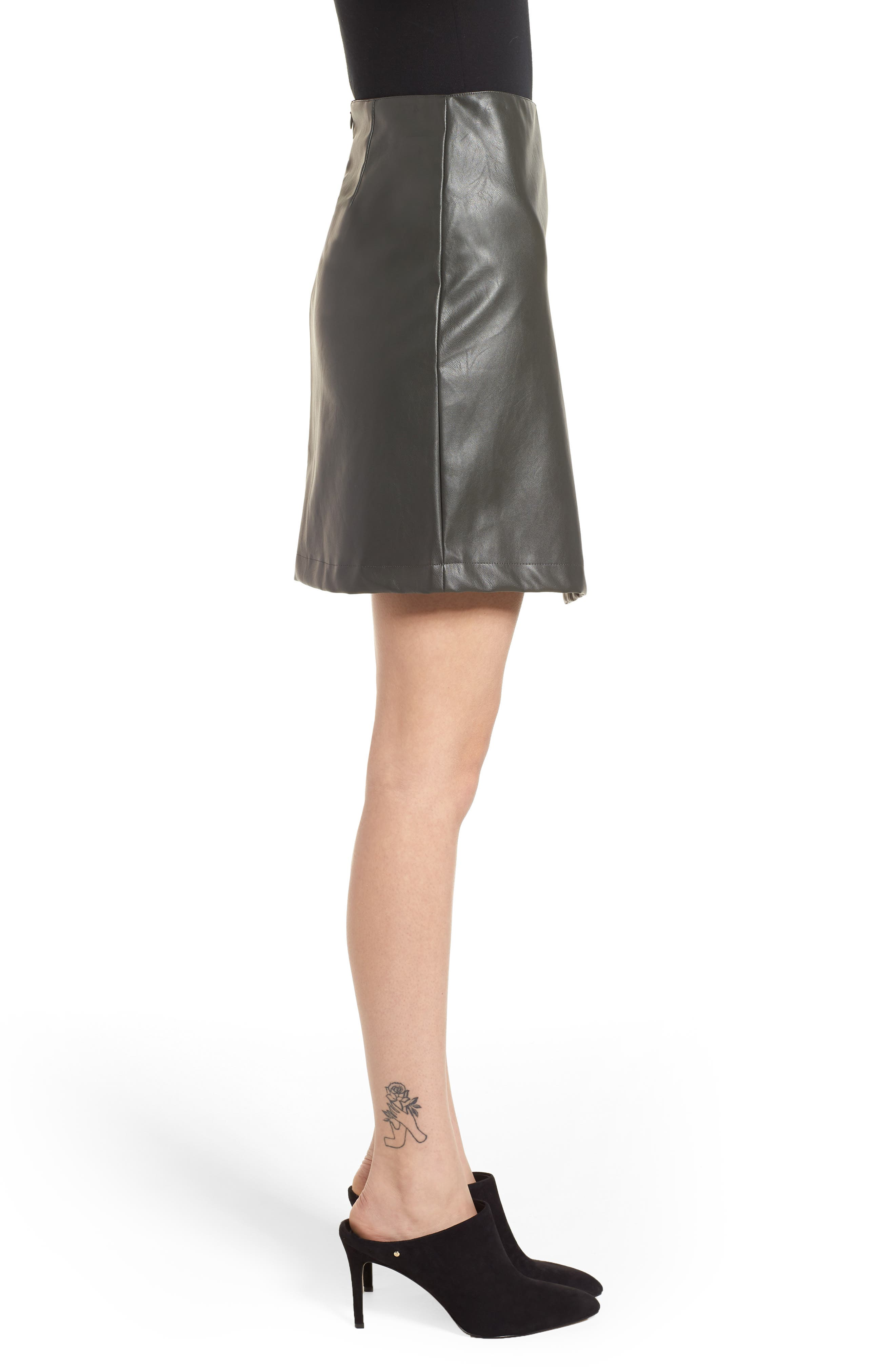 Bishop + Young A-Line Faux Leather Miniskirt,                             Alternate thumbnail 3, color,                             Olive