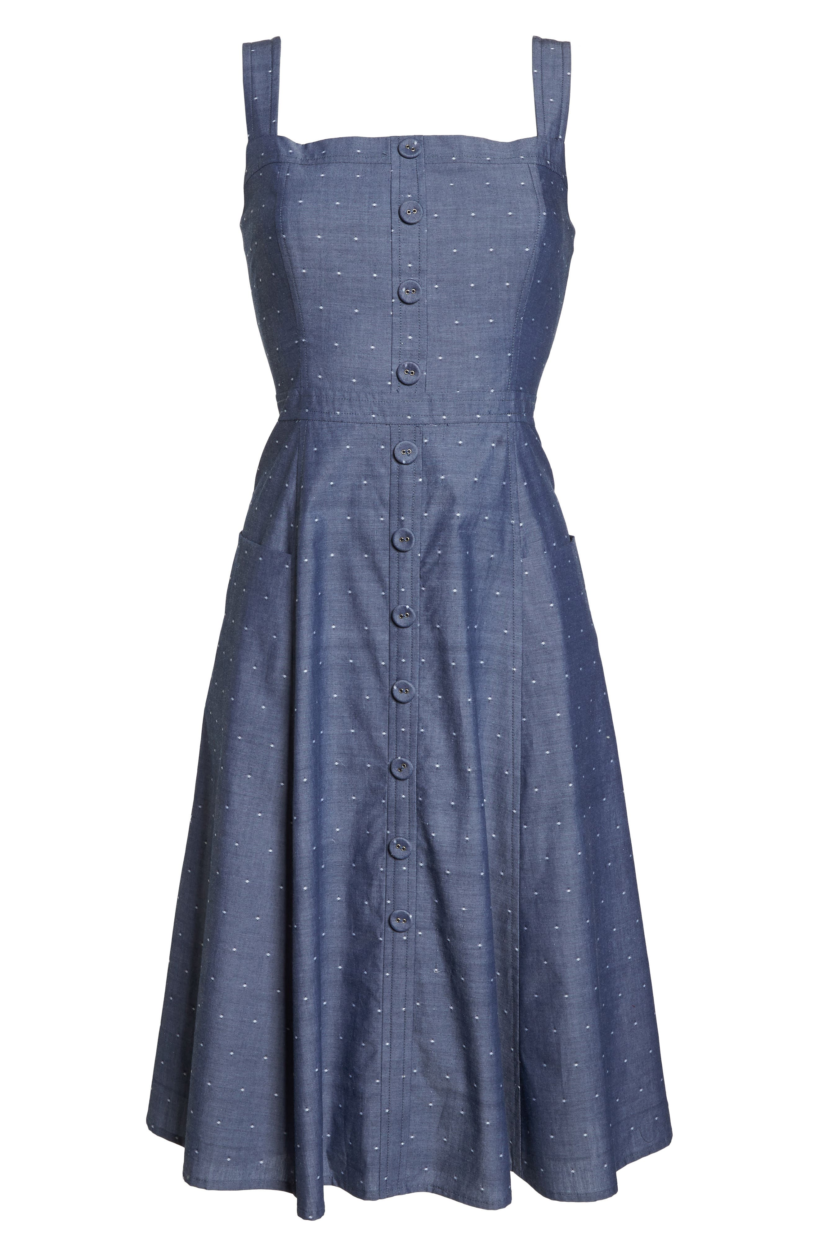 Riley Dot Chambray Fit & Flare Sundress,                             Alternate thumbnail 8, color,                             Chambray With White