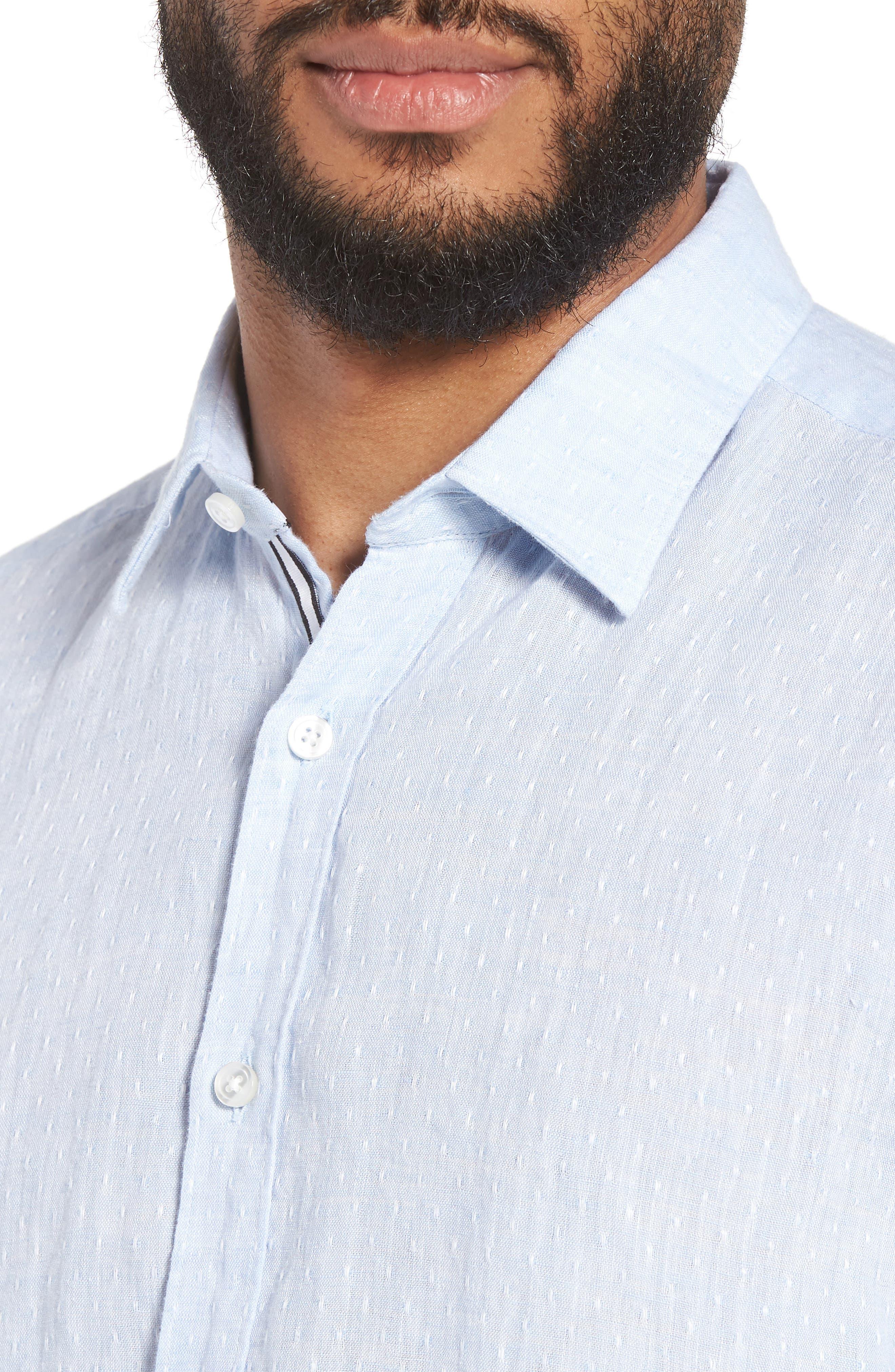 Ronni Slim Fit Dobby Linen Sport Shirt,                             Alternate thumbnail 2, color,                             Blue