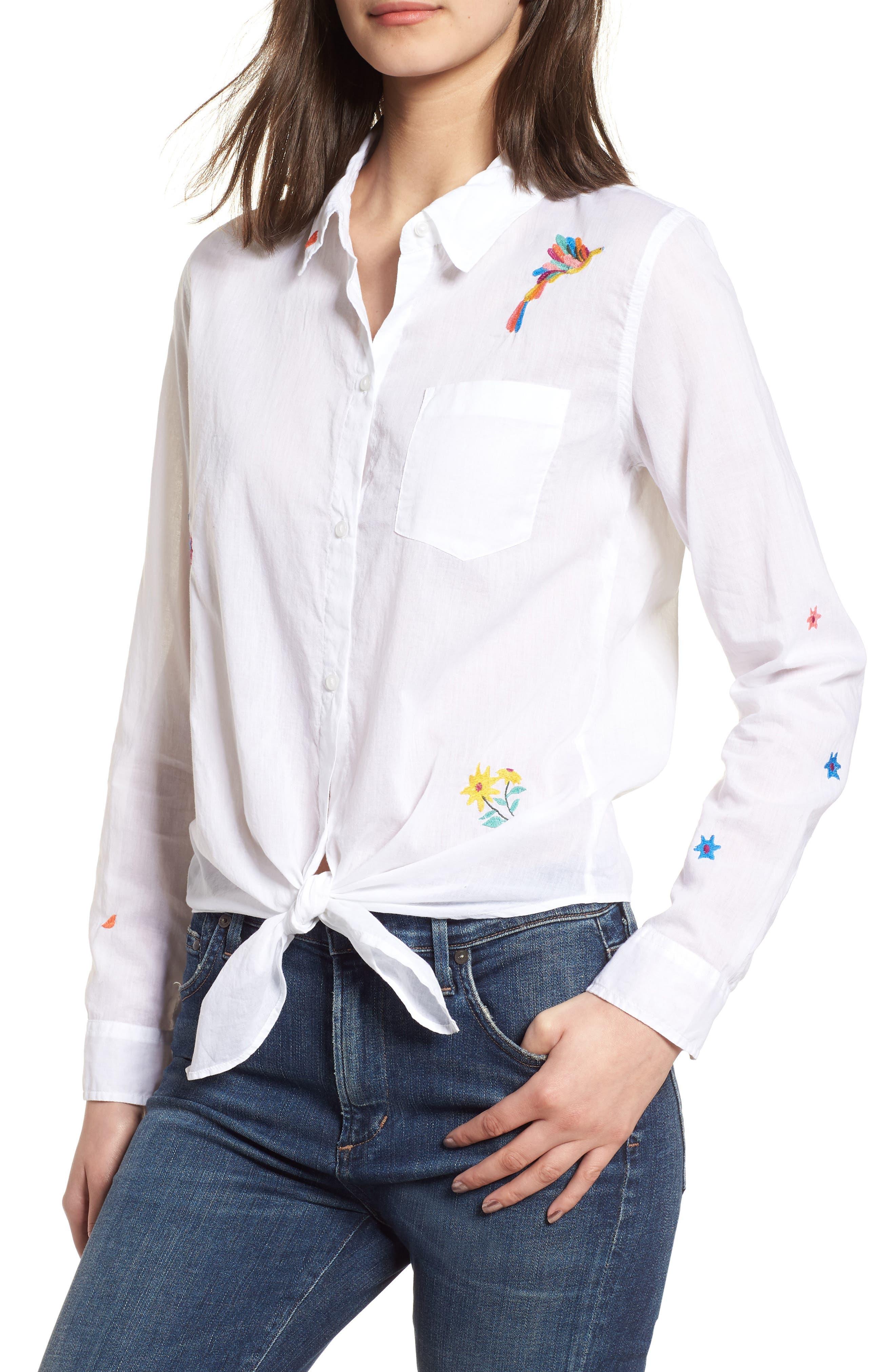 Tie Front Shirt,                             Main thumbnail 1, color,                             White