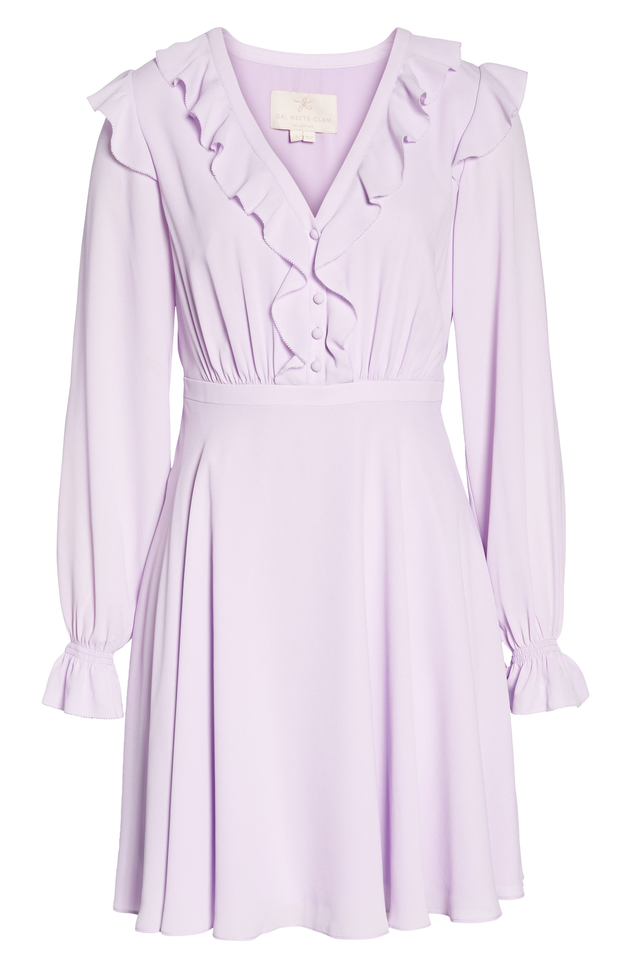 Haley Ruffle Georgette Dress,                             Alternate thumbnail 8, color,                             Lilac