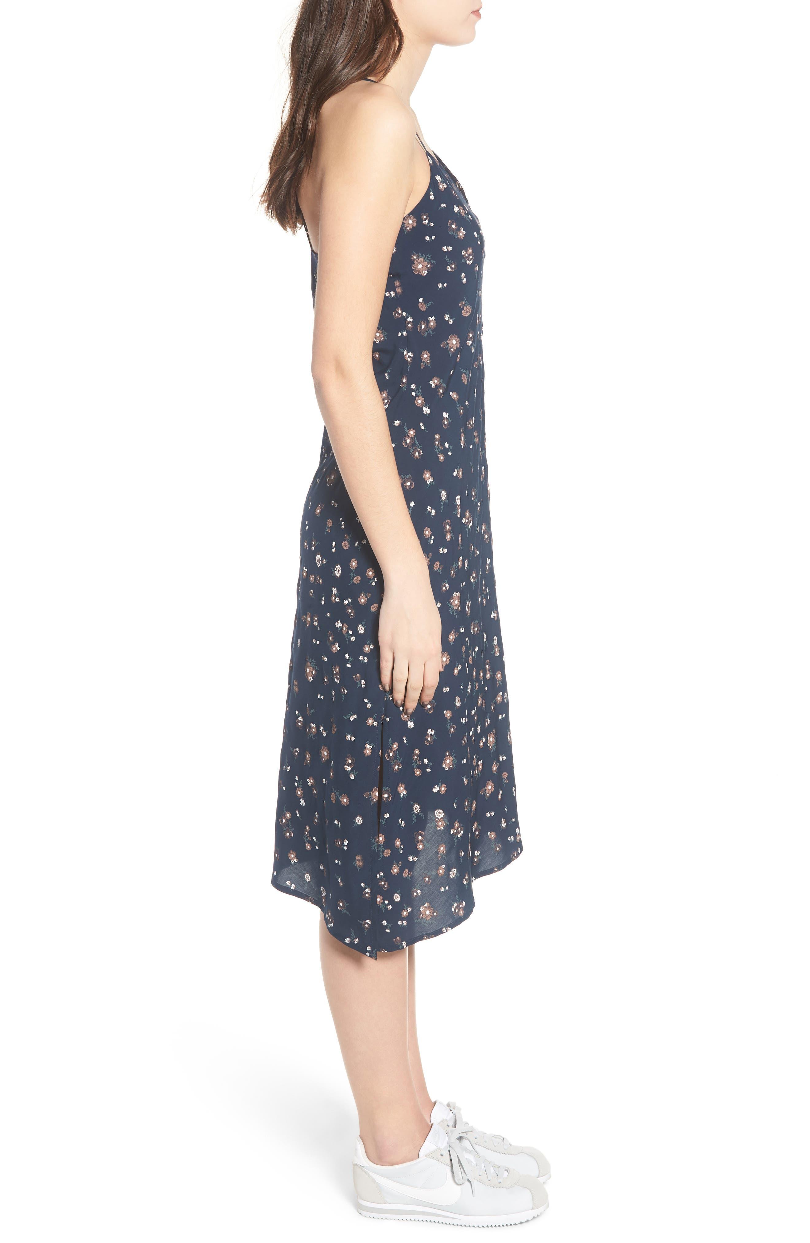 Scarlett Print Midi Dress,                             Alternate thumbnail 3, color,                             Navy Multi