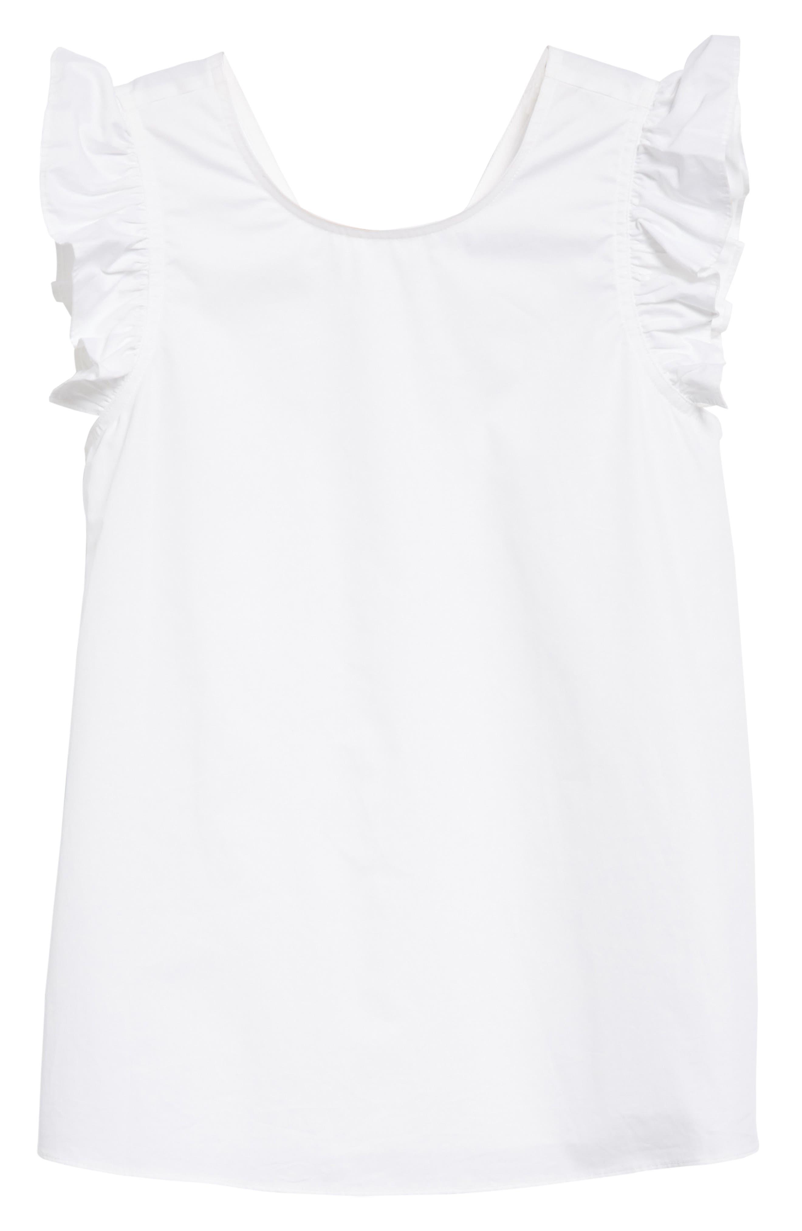 ruffled cotton top,                             Alternate thumbnail 6, color,                             Fresh White