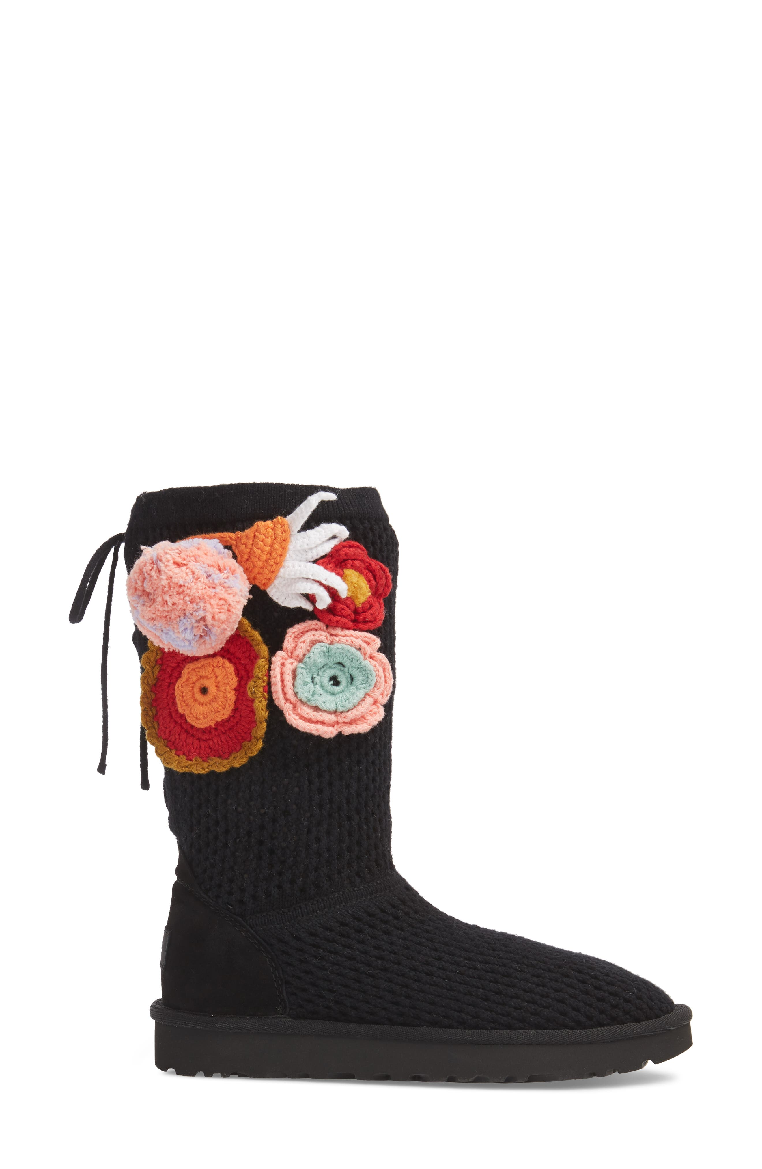 Crochet Classic Tall Boot,                             Alternate thumbnail 3, color,                             Black