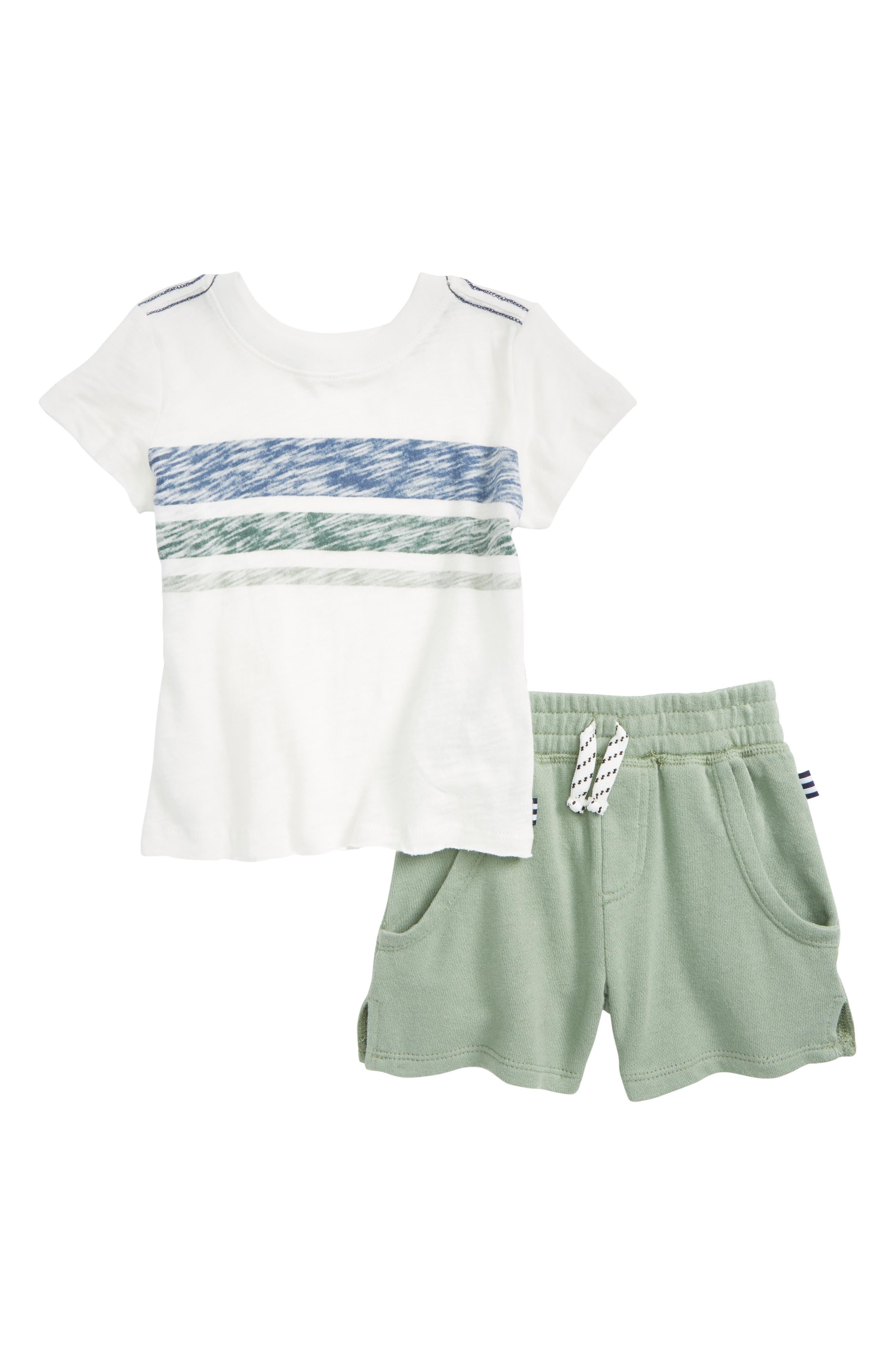 Reverse Stripe Top & Shorts Set,                             Main thumbnail 1, color,                             White