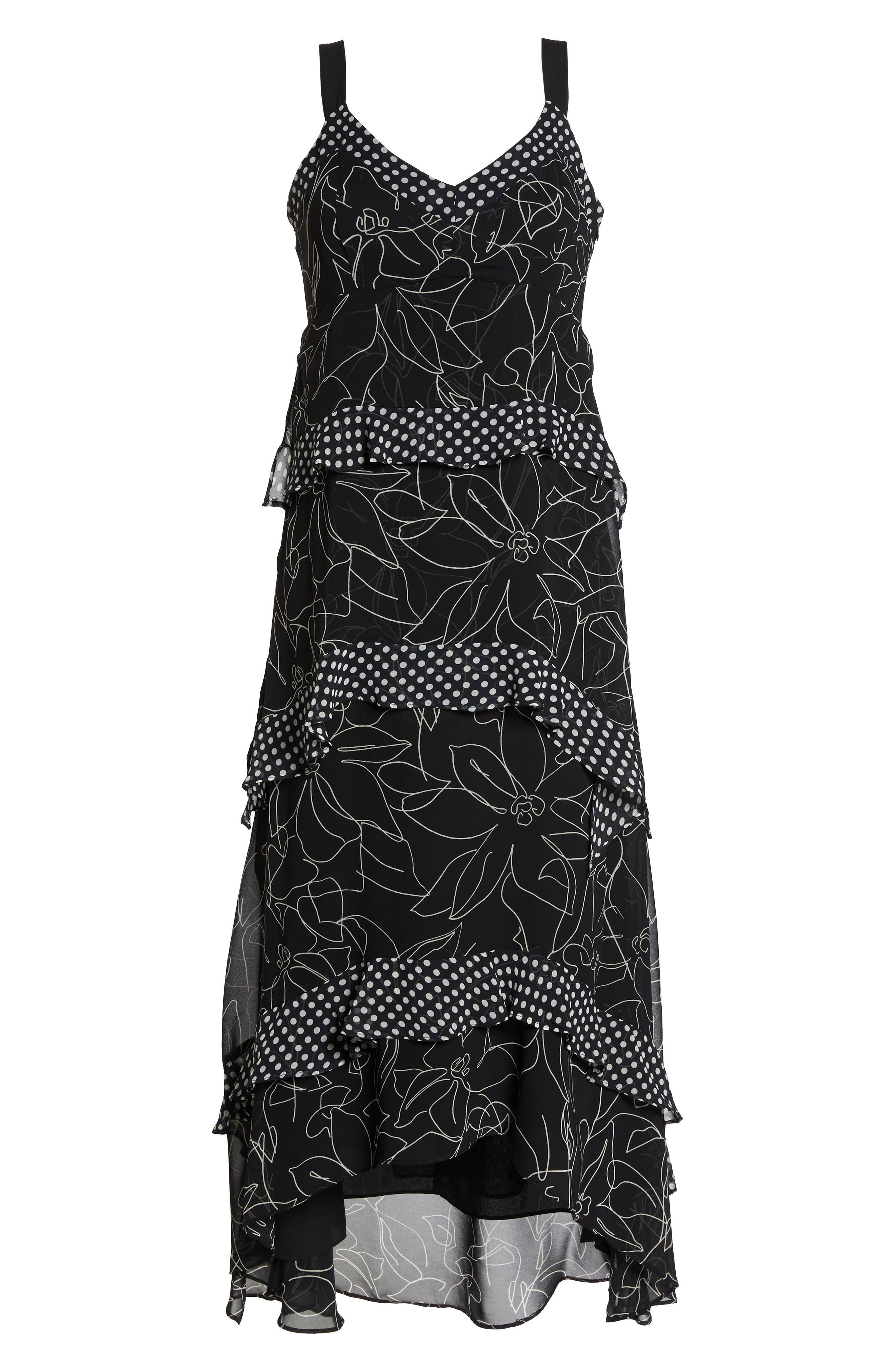 Polka Dot & Floral Tiered Maxi Dress,                             Alternate thumbnail 7, color,                             Black Ivory