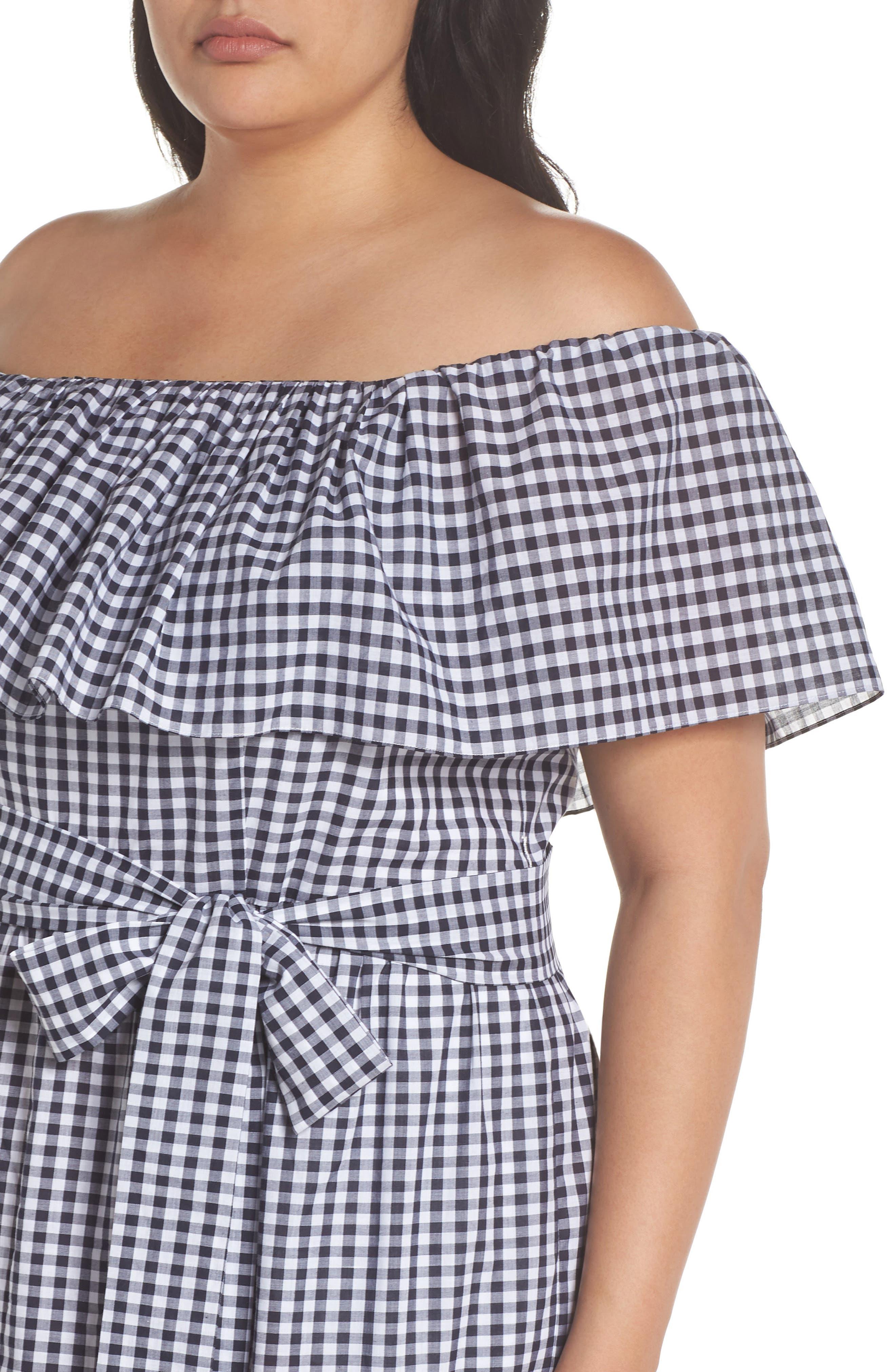 Off the Shoulder Gingham Maxi Dress,                             Alternate thumbnail 4, color,                             Blue White Gingham