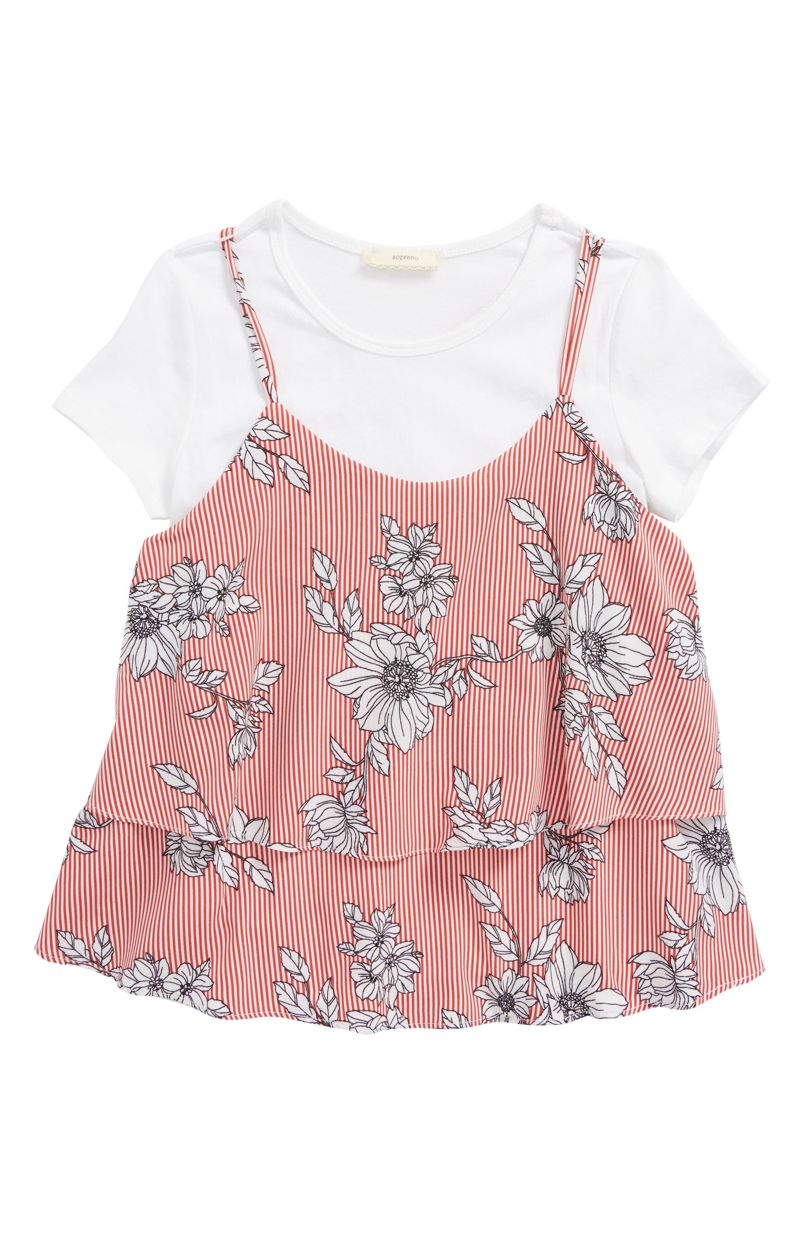Flouce Mixed Media Top,                         Main,                         color, Red/ White