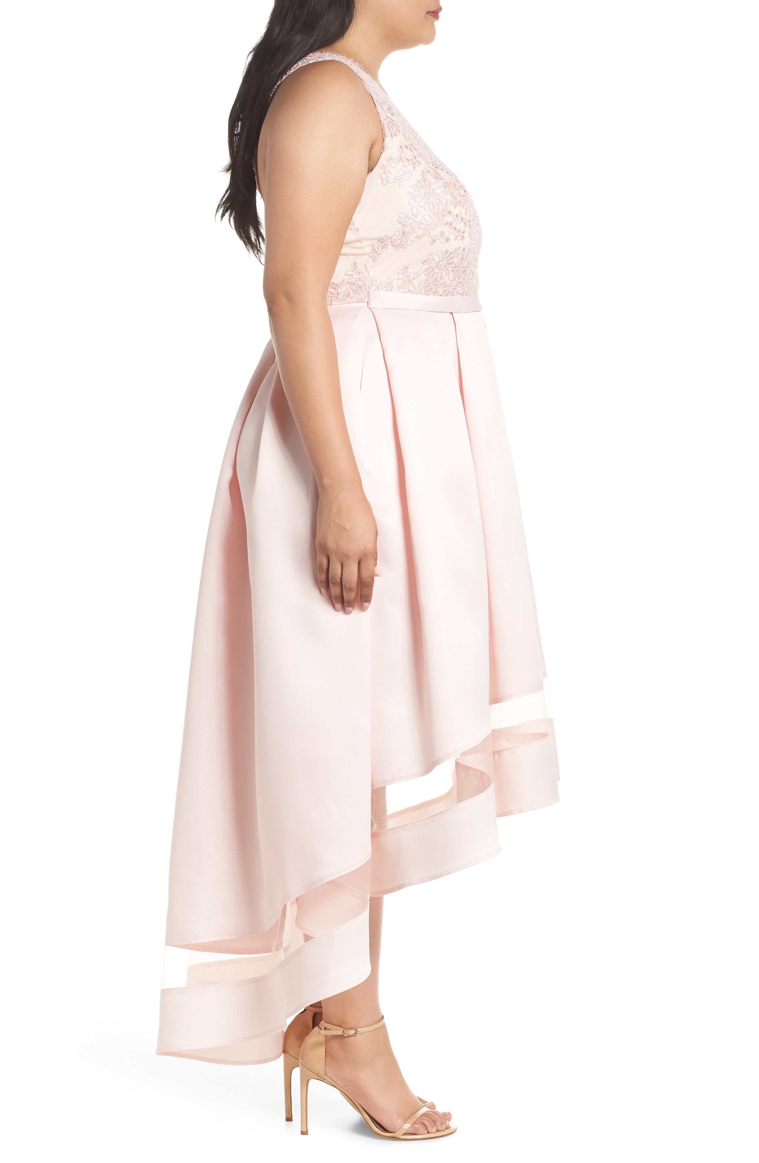 Alternate Image 3  - Marina Lace & Pleated High/Low Gown (Plus Size)