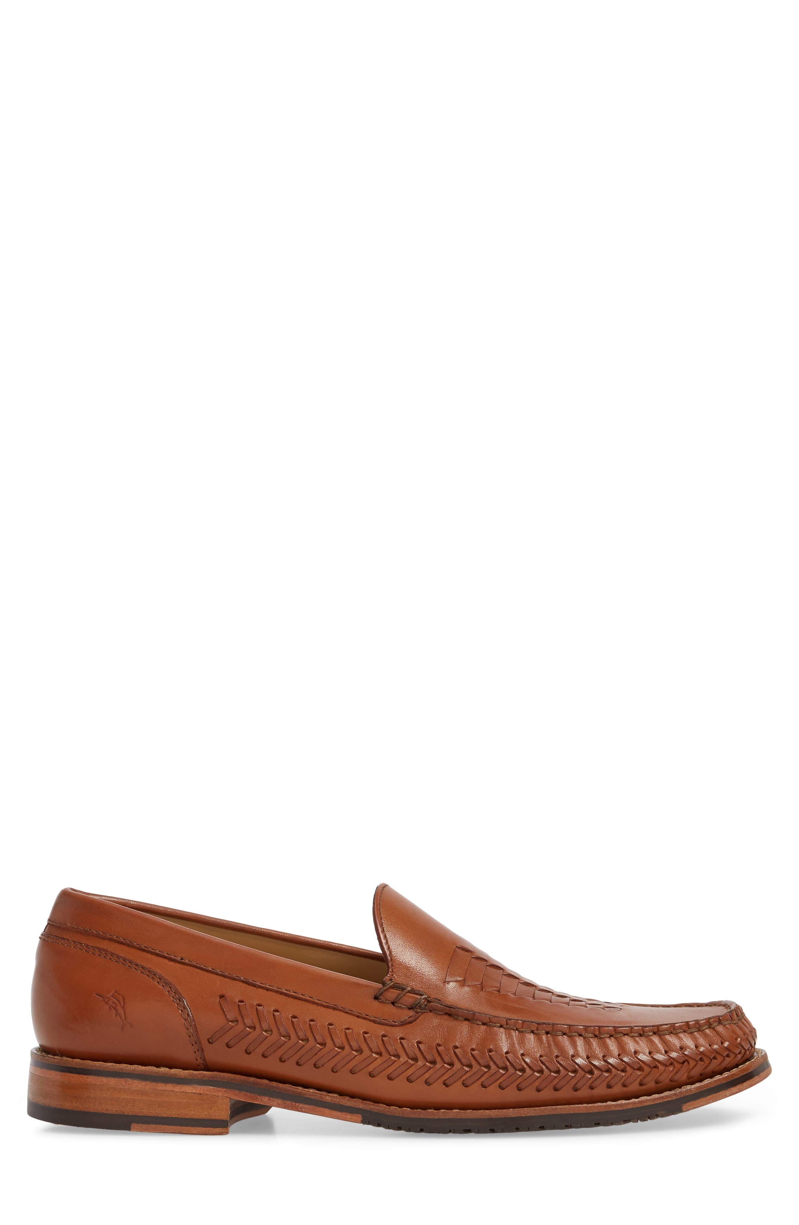 Hasslington Woven Venetian Loafer,                             Alternate thumbnail 3, color,                             Tan Leather