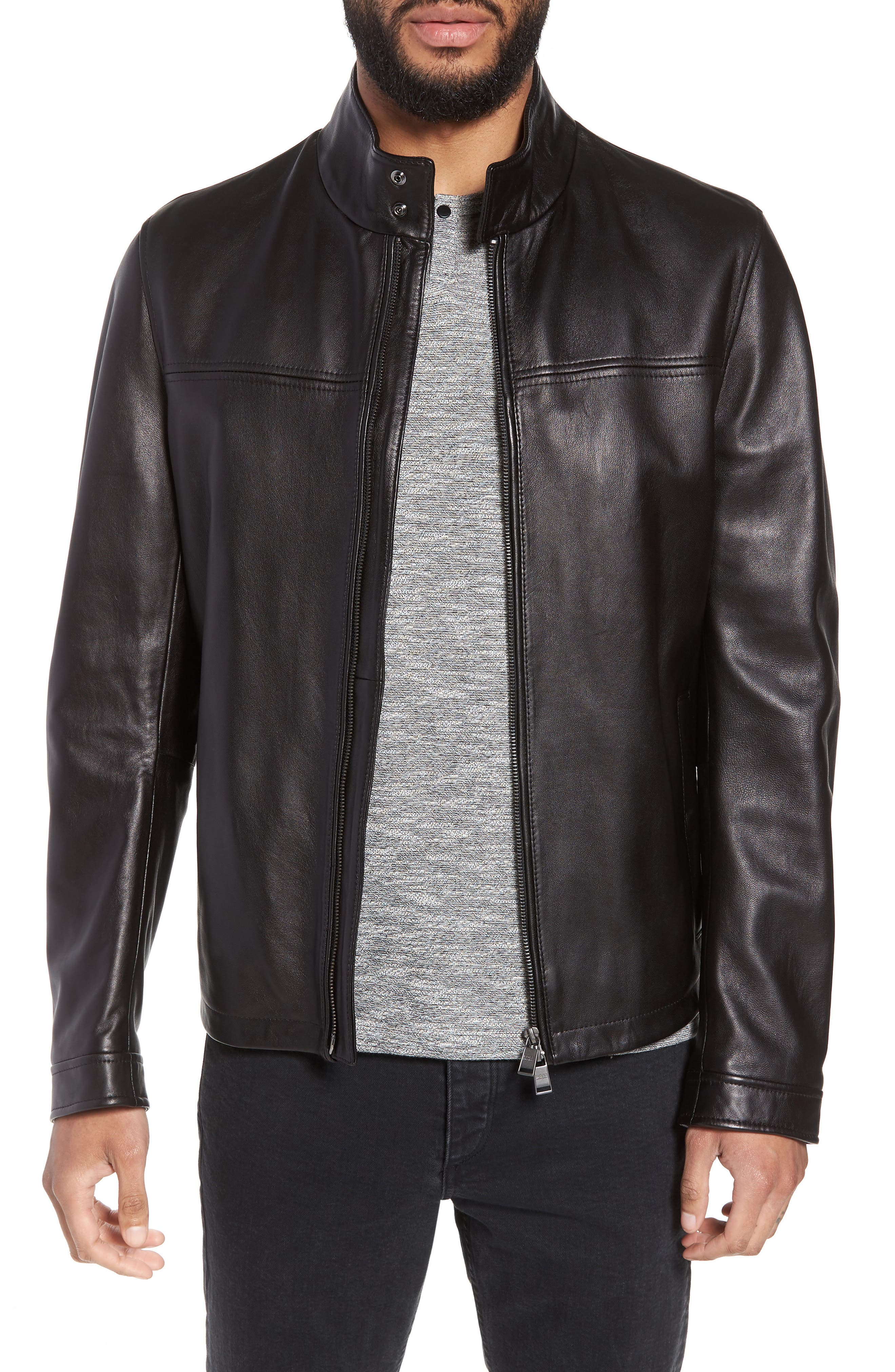 Nerous Leather jacket,                         Main,                         color, Black