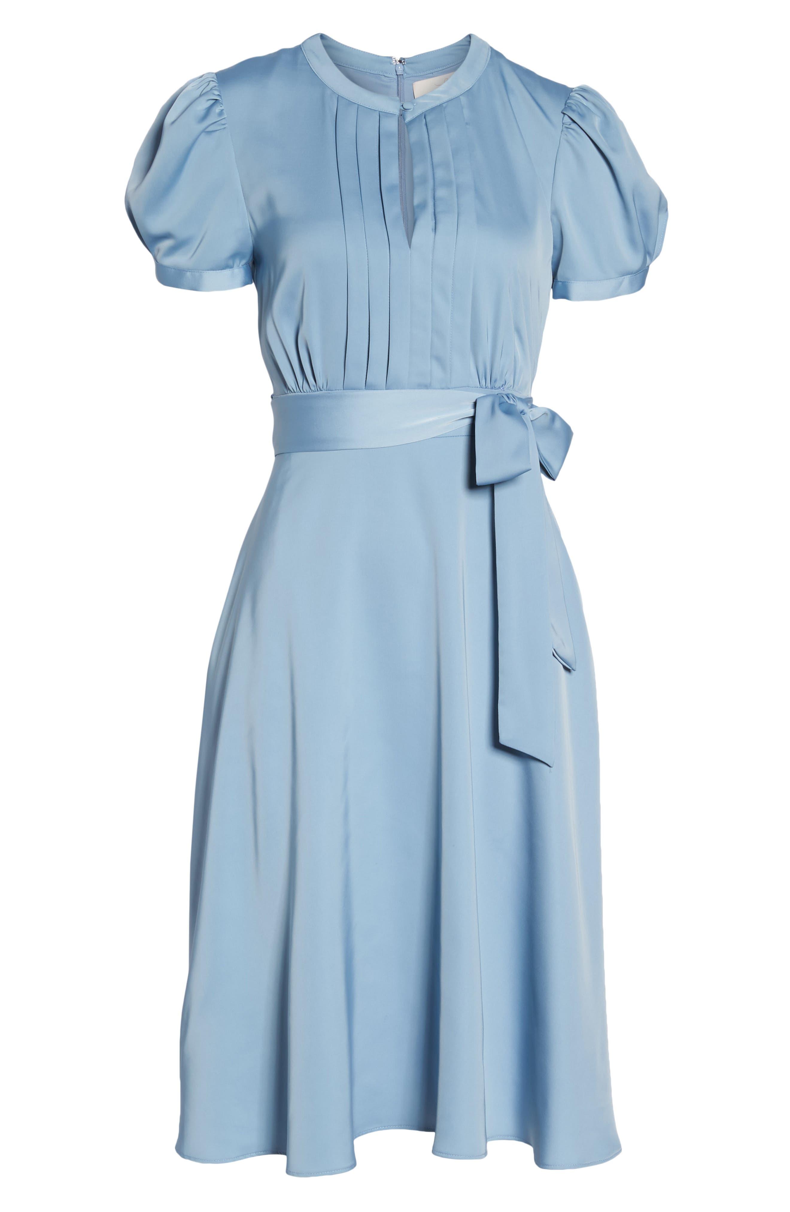 Marilyn Satin Fit & Flare Dress,                             Alternate thumbnail 8, color,                             Cornflower