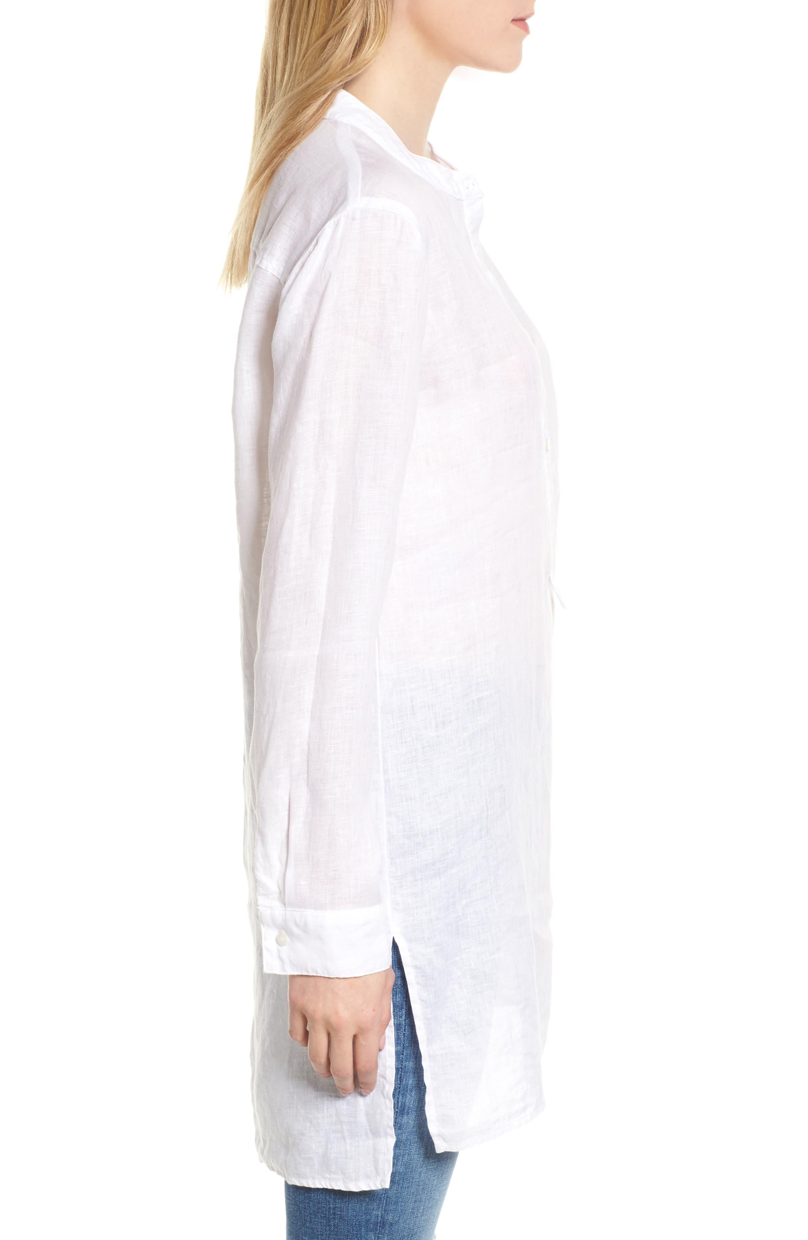 Shirting Tunic Top,                             Alternate thumbnail 3, color,                             White