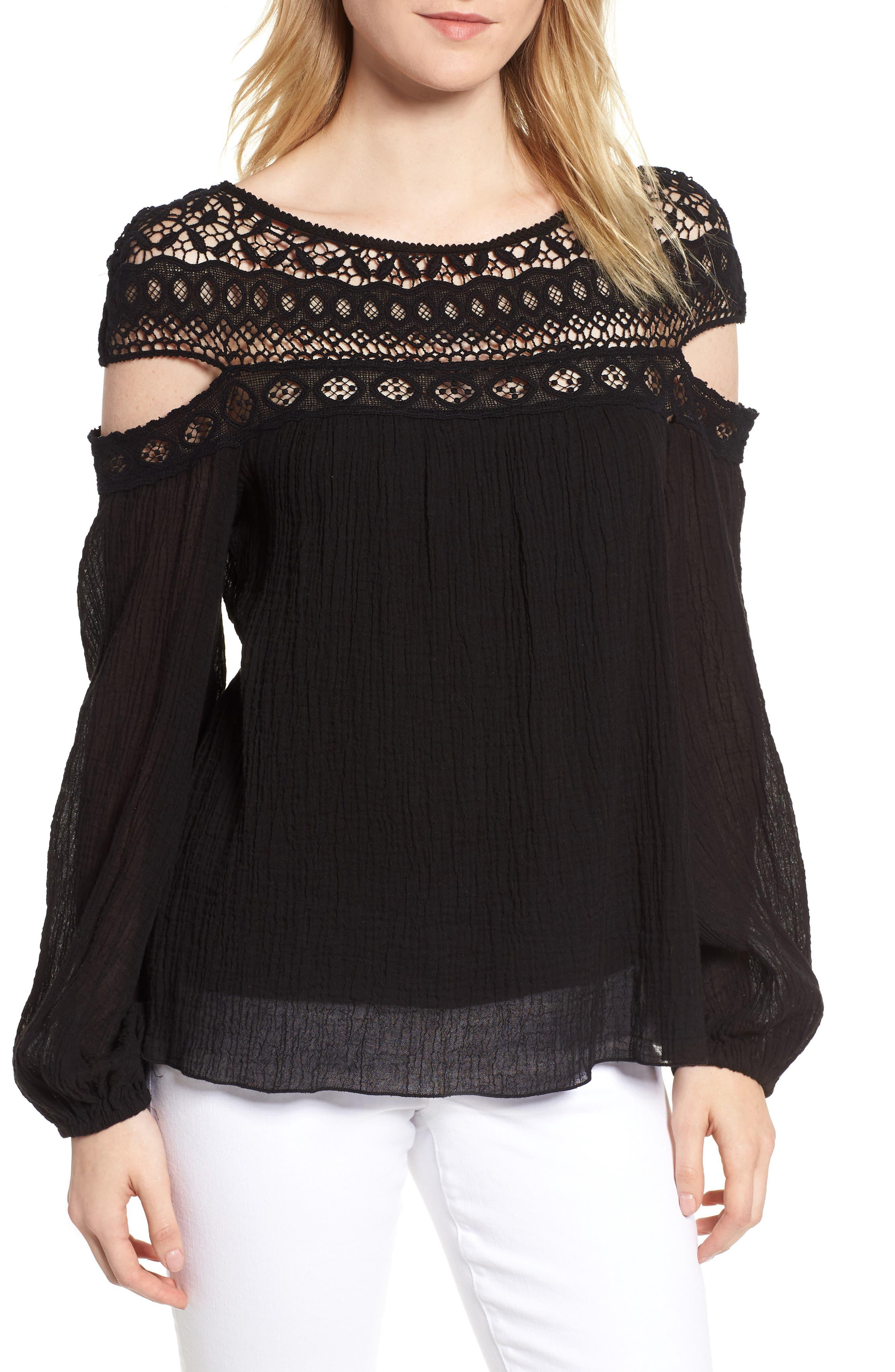 Cutout Sleeve Top,                         Main,                         color, Black