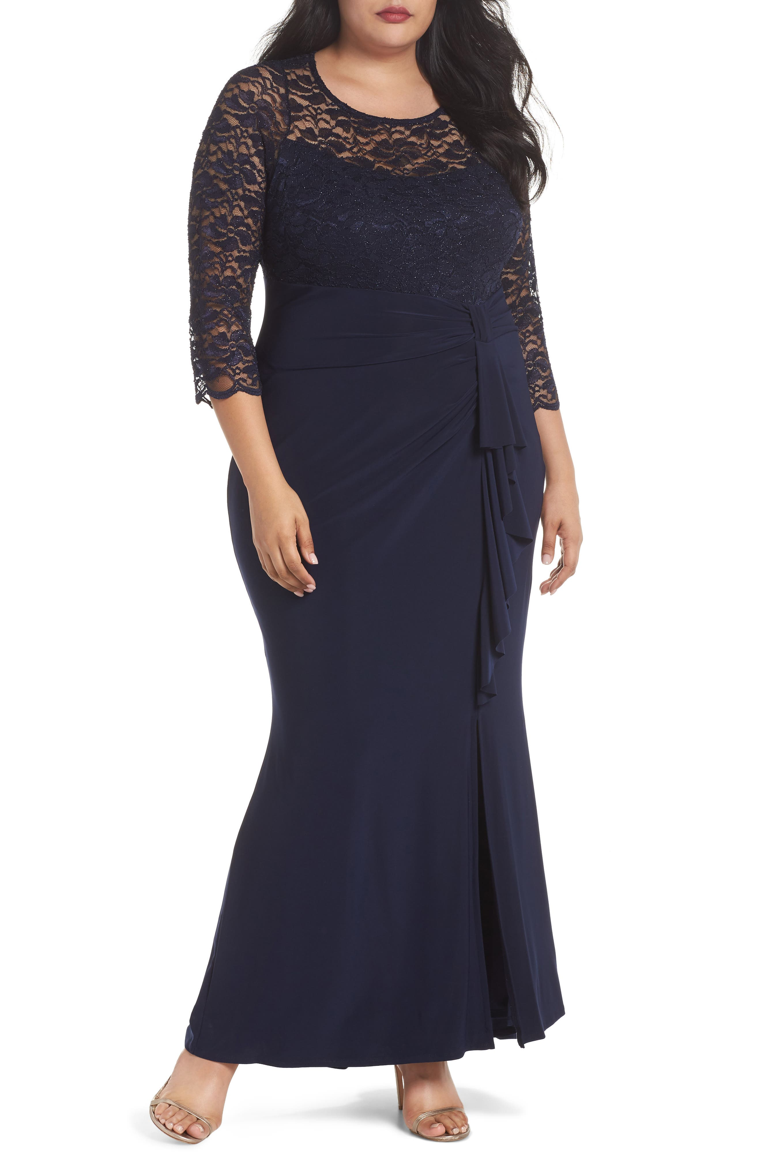 Cascade Lace & Jersey Gown,                         Main,                         color, Navy