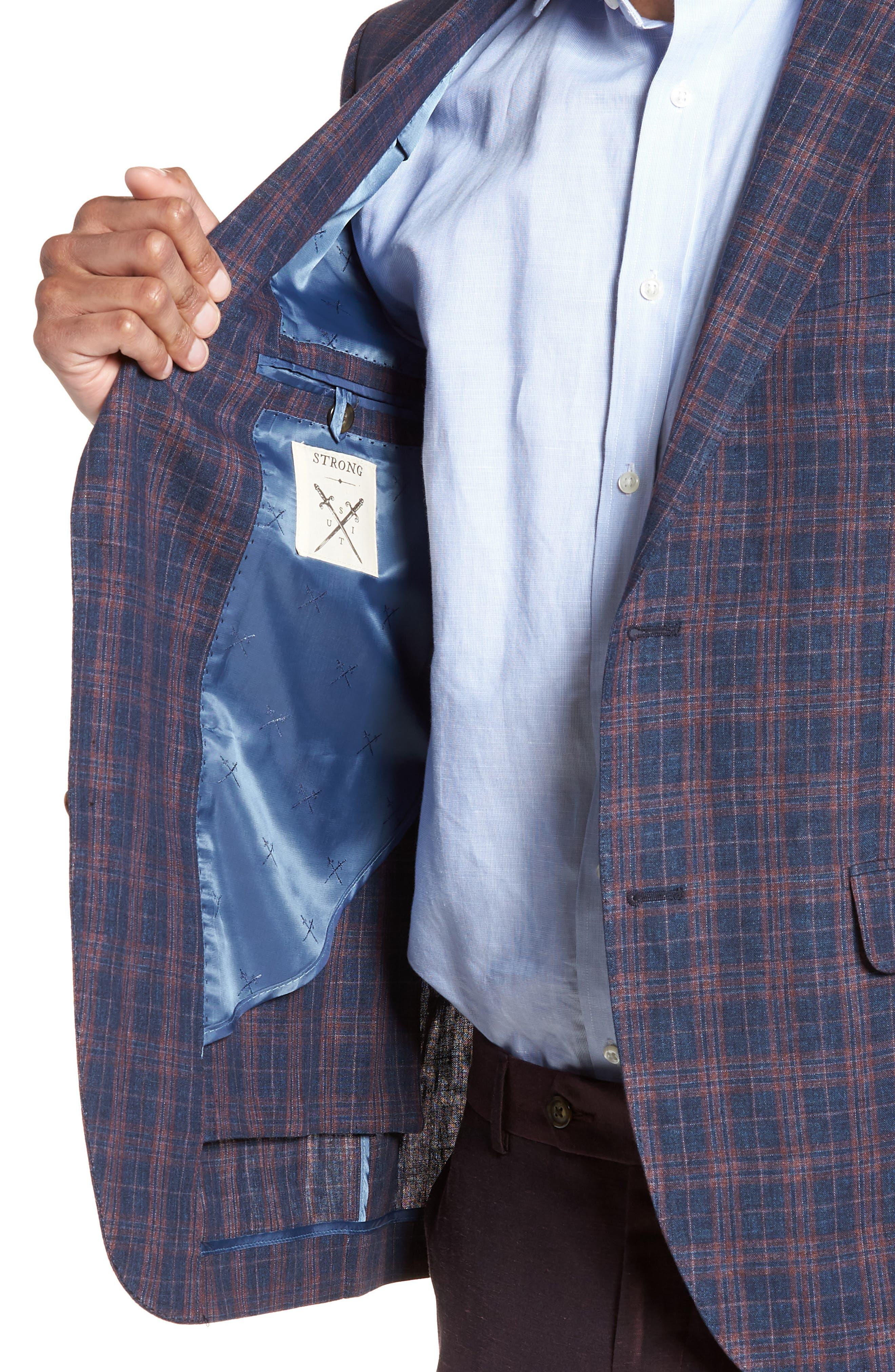 Vanquish Trim Fit Plaid Linen Sport Coat,                             Alternate thumbnail 4, color,                             Navy/ Red