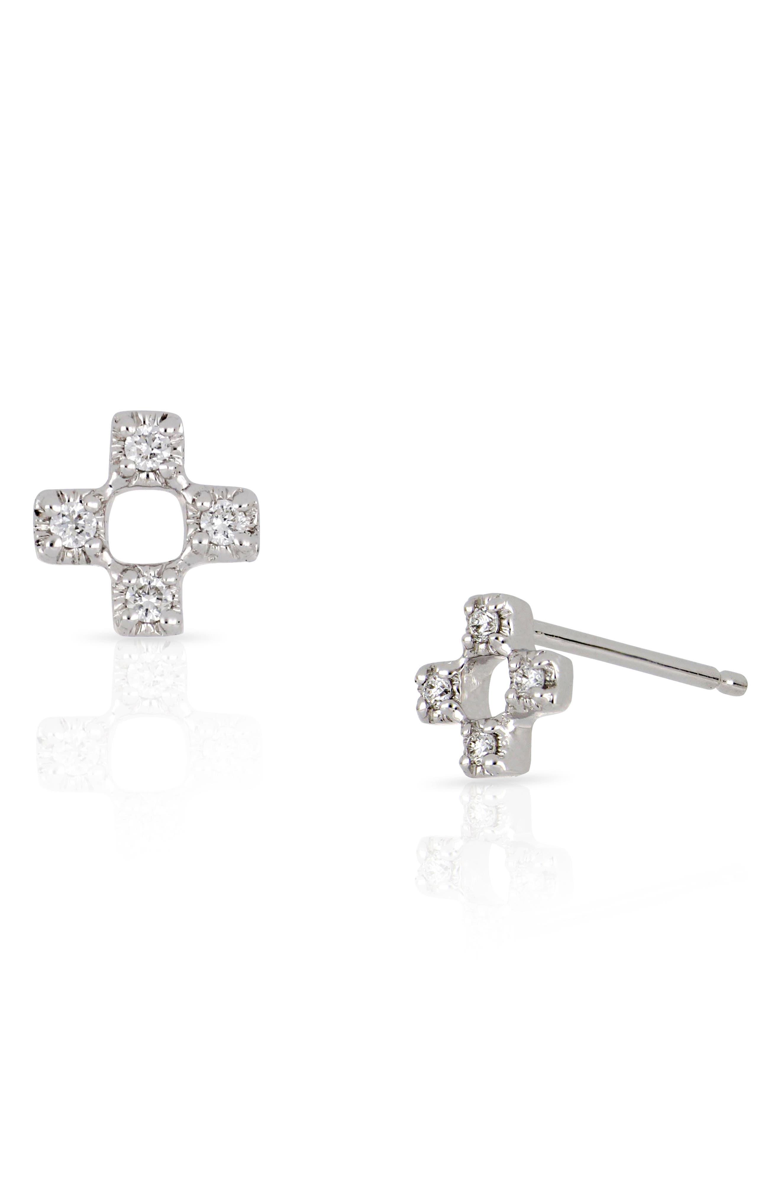 Open Square Diamond Earrings,                         Main,                         color, White Gold