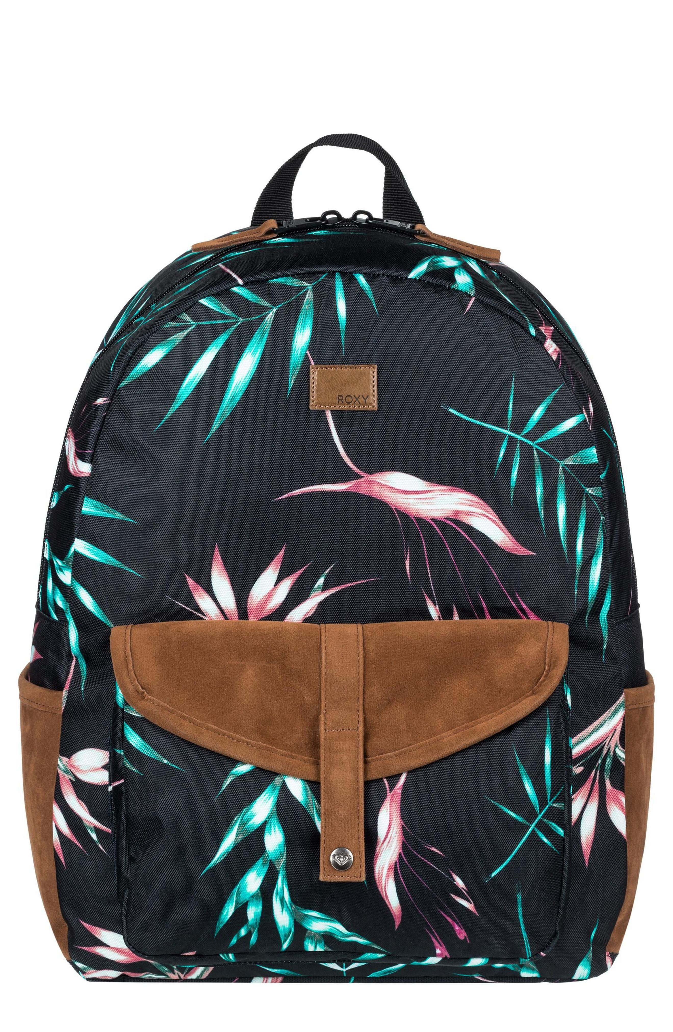 Caribbean Backpack,                             Main thumbnail 1, color,                             Anthracite Stormy Flowers