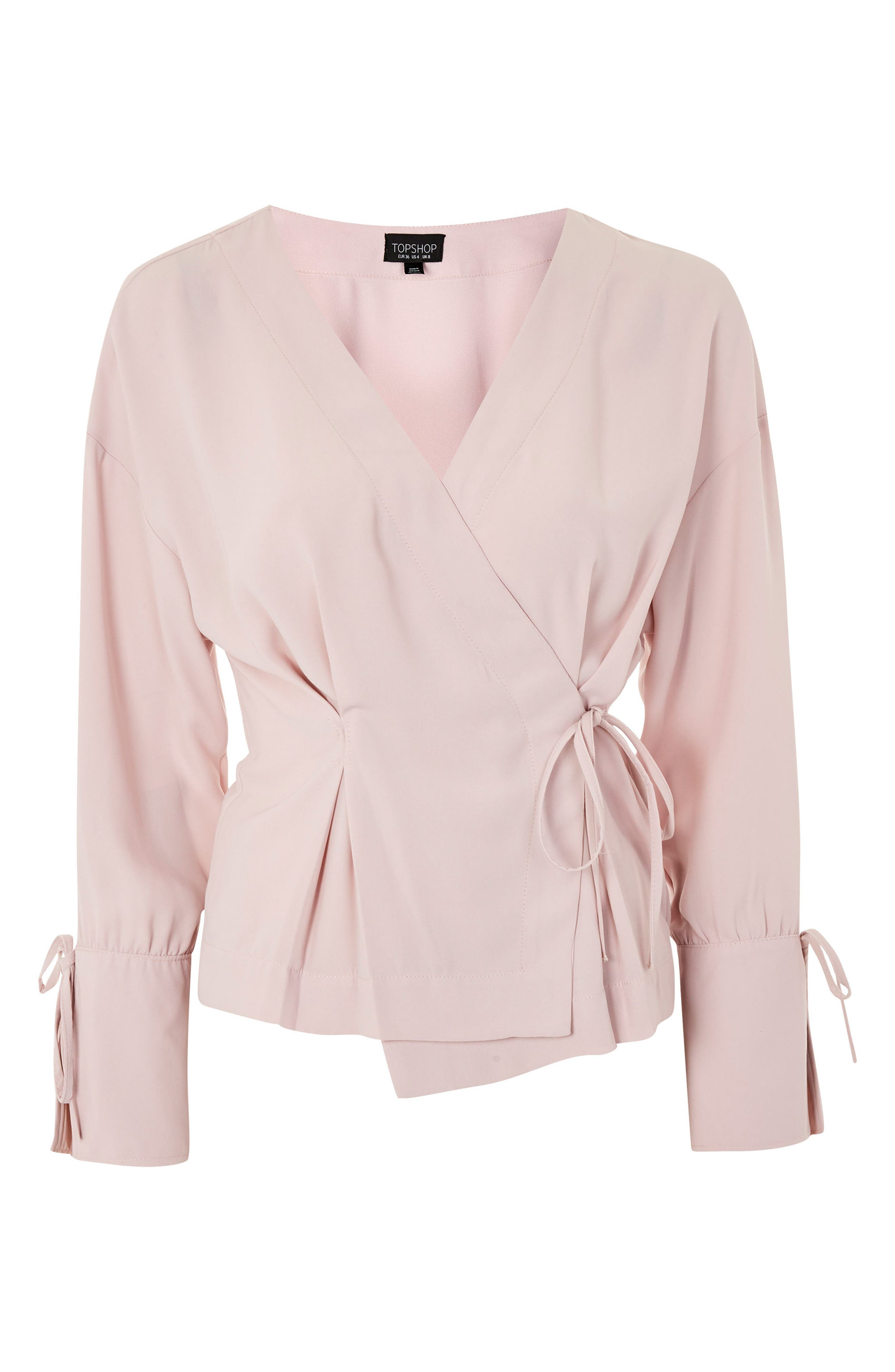 Tie Sleeve Wrap Blouse,                             Alternate thumbnail 4, color,                             Blush