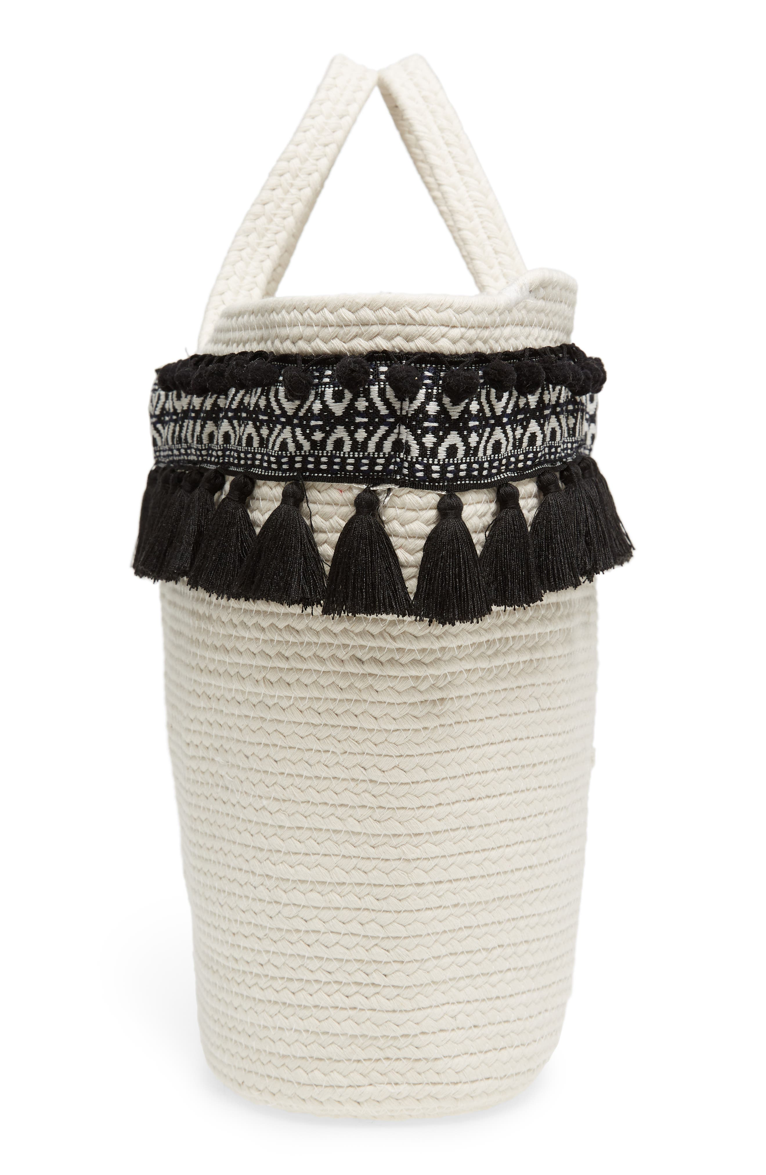 Caicos Woven Tote,                             Alternate thumbnail 5, color,                             Ivory