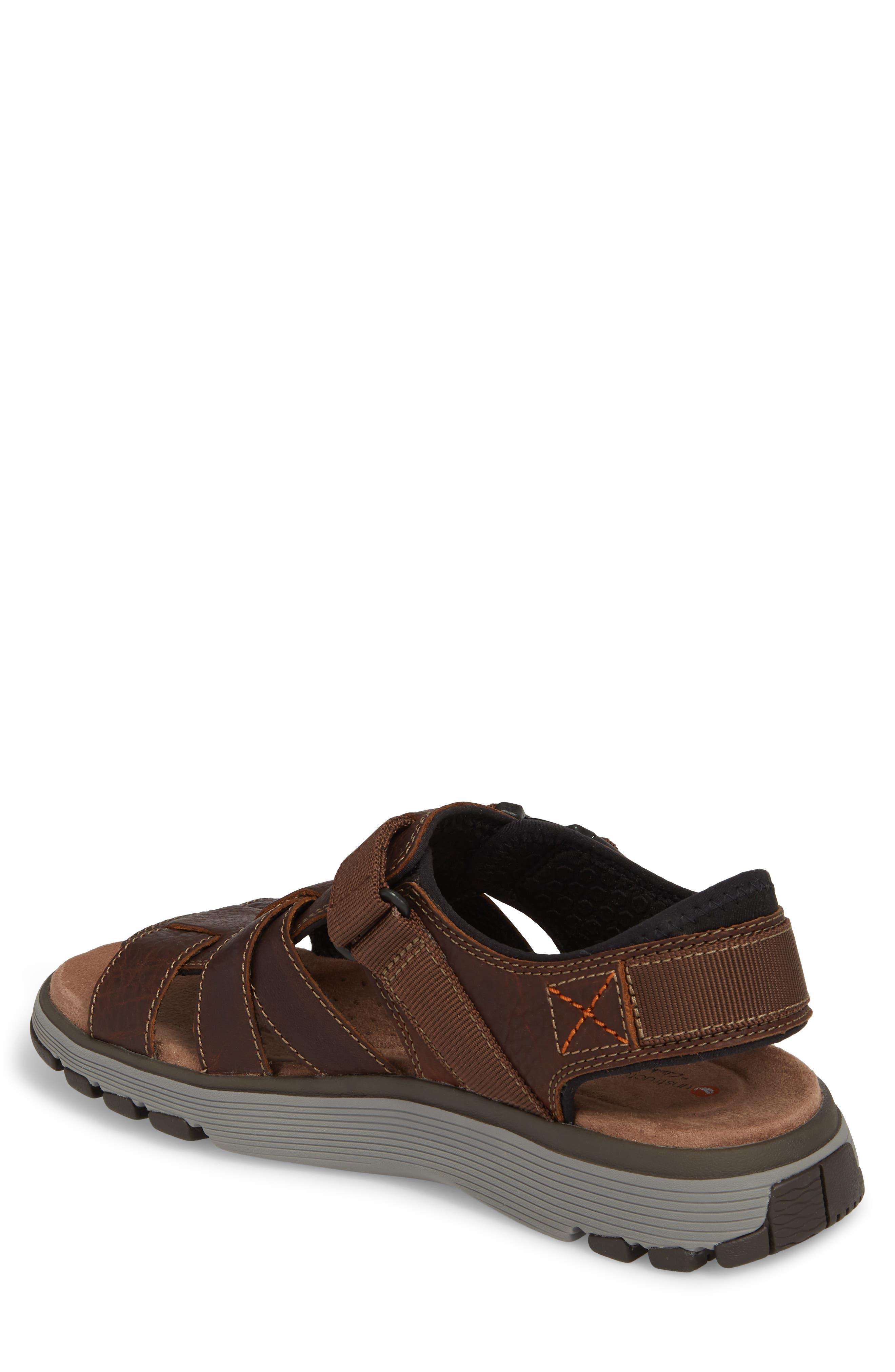Clarks<sup>®</sup> Untrek Cove Fisherman Sandal,                             Alternate thumbnail 2, color,                             Dark Tan Leather