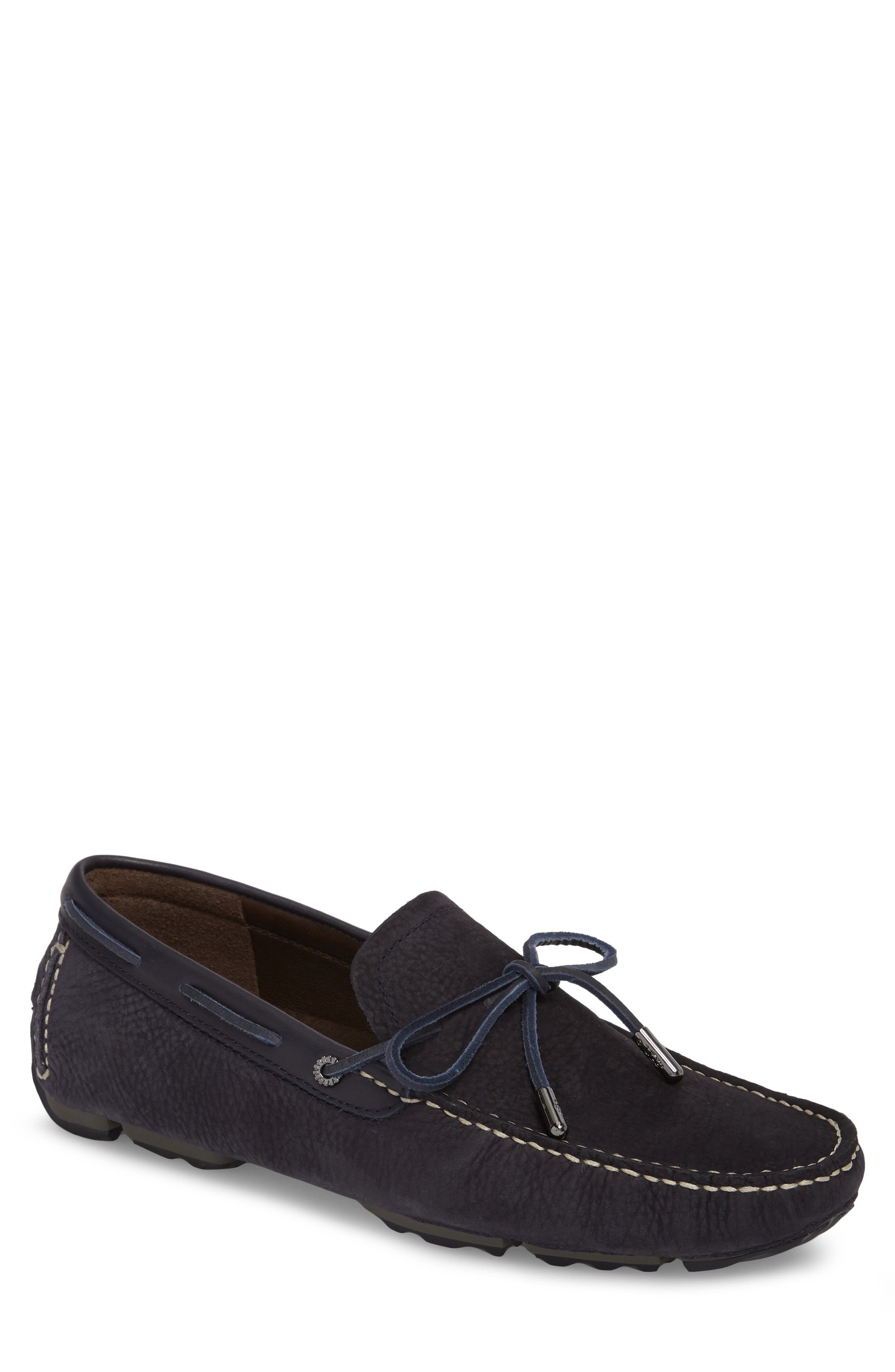 Bel Air Driving Moccasin,                             Main thumbnail 1, color,                             Navy Leather