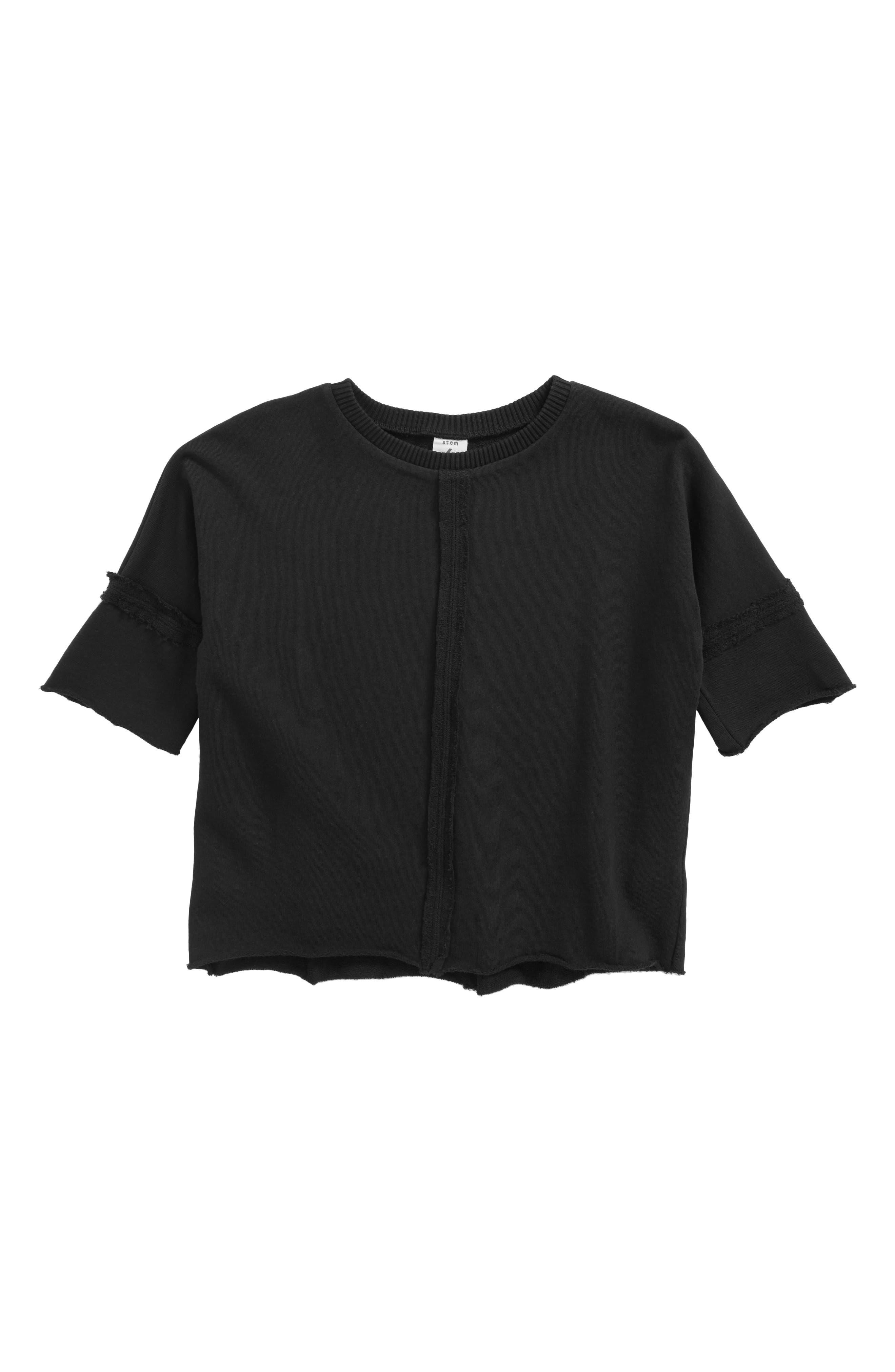 Raw Edge Fleece T-Shirt,                         Main,                         color, Black