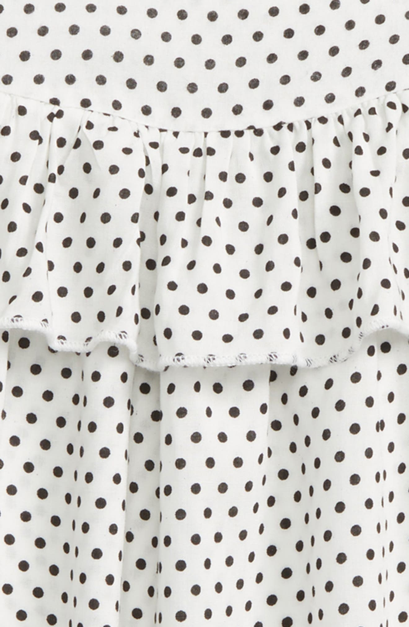 Ruffle Polka Dot Tee,                             Alternate thumbnail 2, color,                             White/ Black