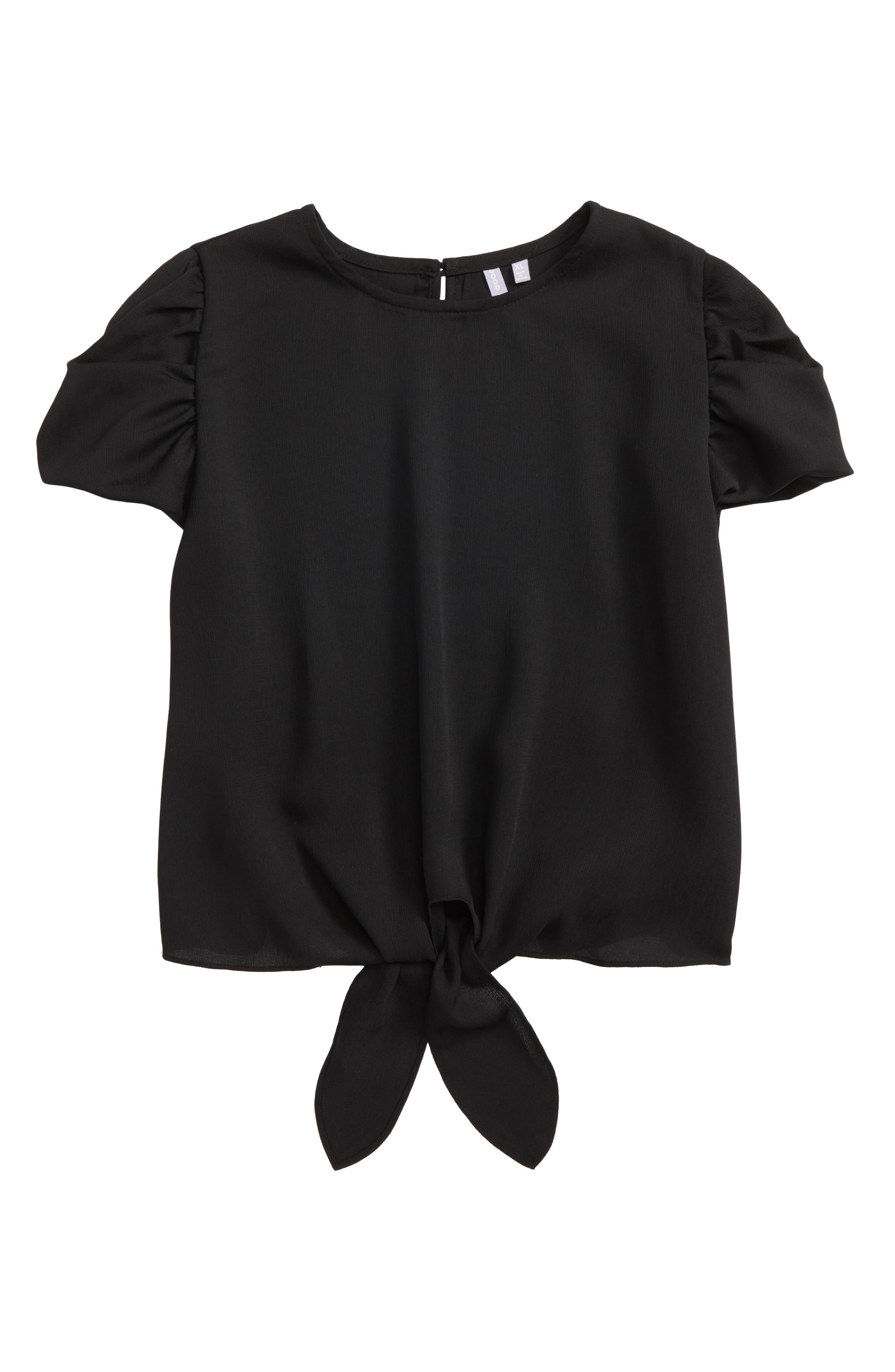 Tie Front Tee,                         Main,                         color, Black