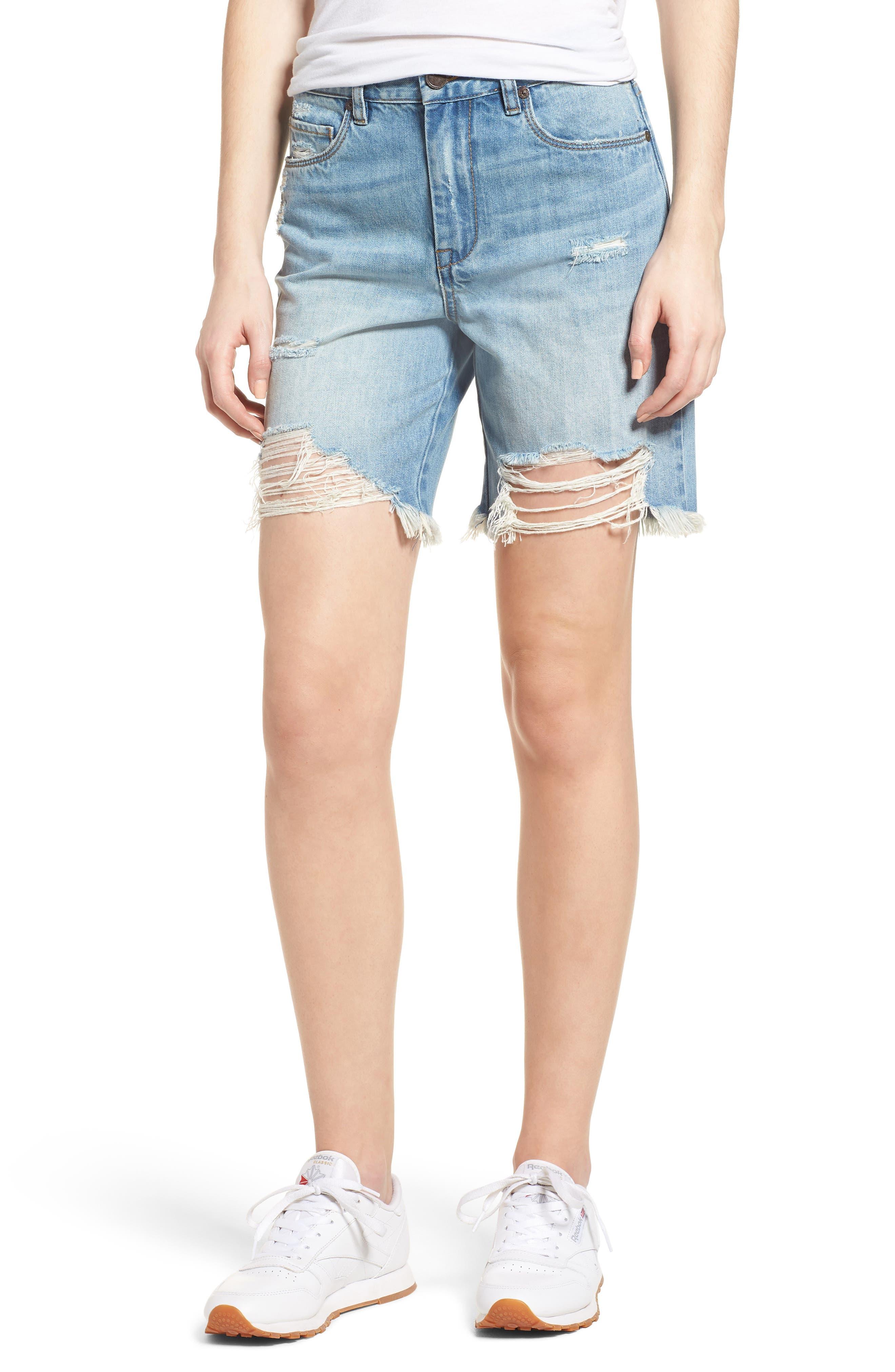 Ripped Denim Shorts,                         Main,                         color, Climbing Walls