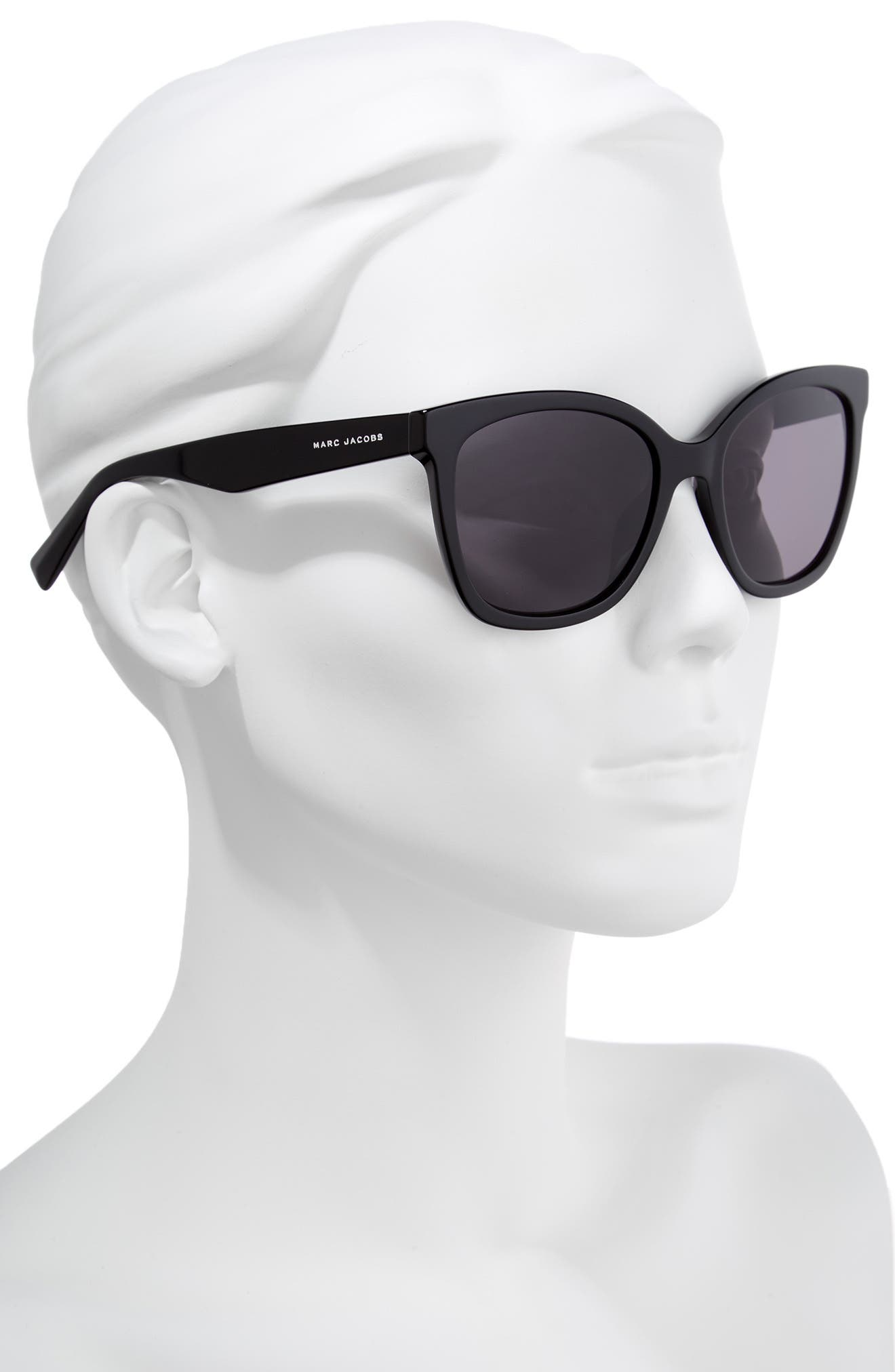 54mm Gradient Lens Sunglasses,                             Alternate thumbnail 2, color,                             Black Polar
