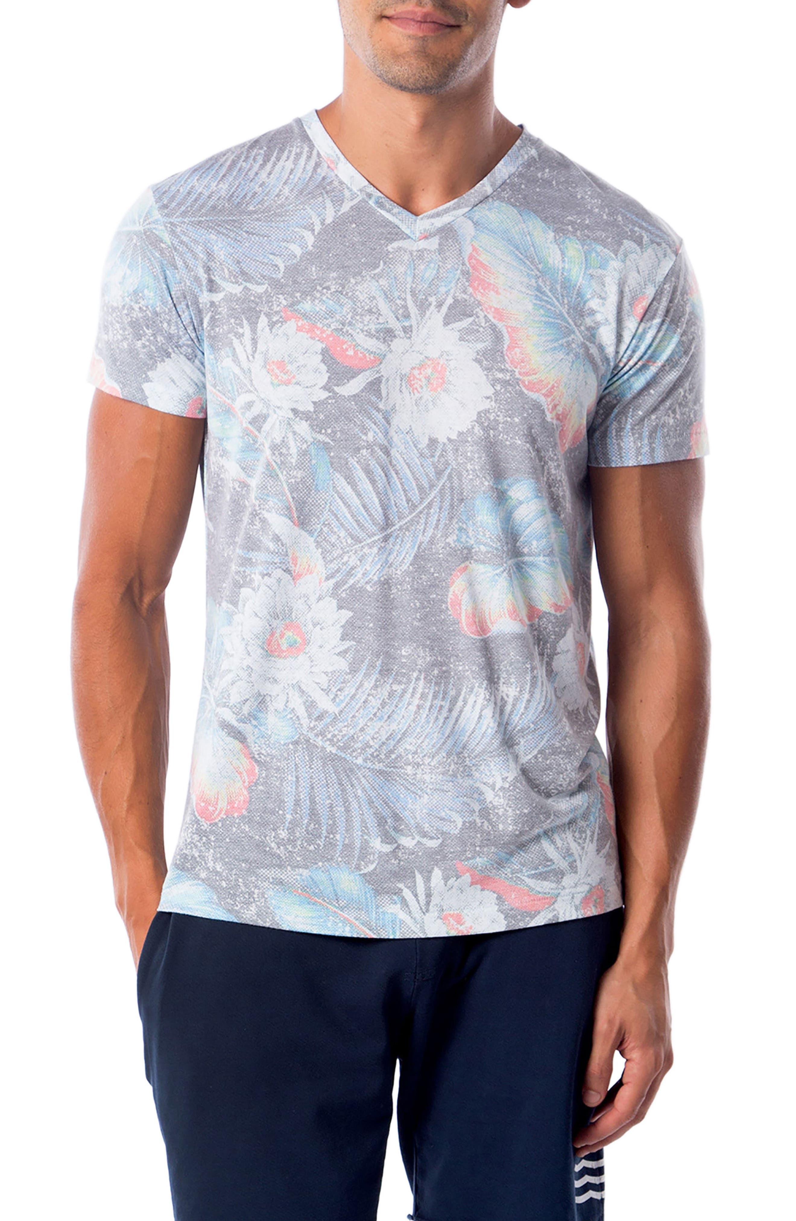 Aqua Floral T-Shirt,                             Main thumbnail 1, color,                             Aqua Flora