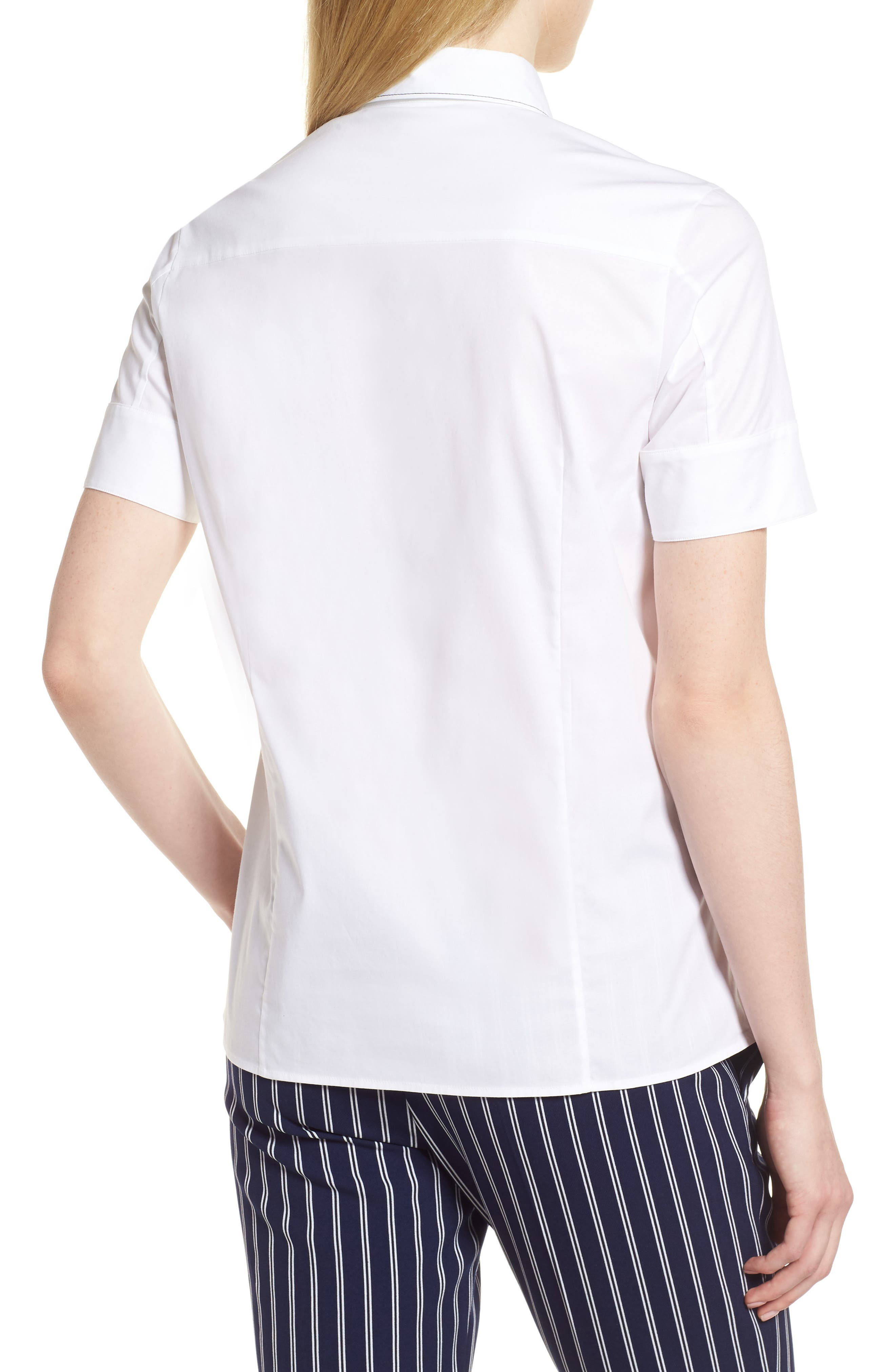 Balasera Stretch Cotton Blouse,                             Alternate thumbnail 2, color,                             White