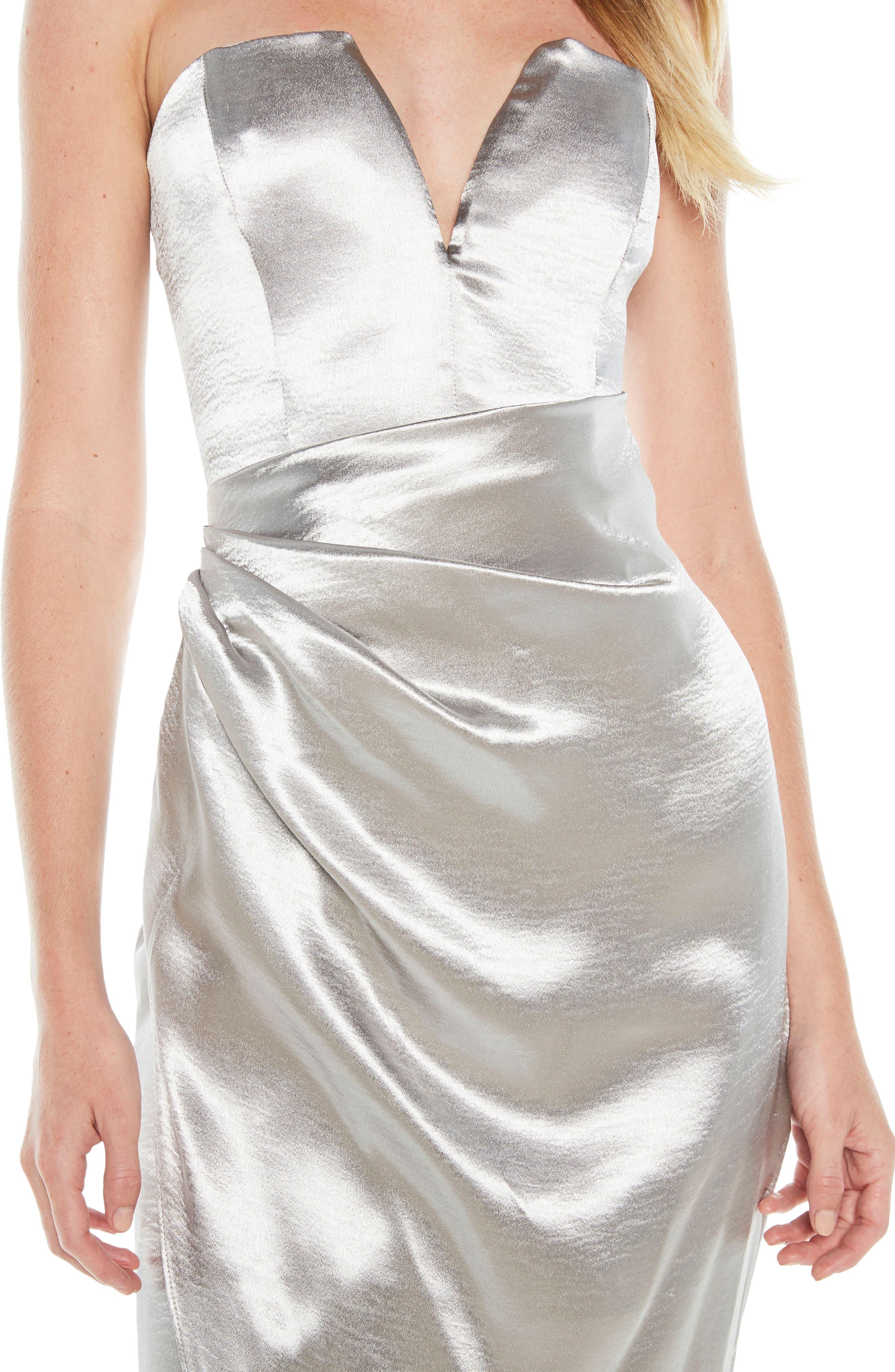 Eri Strapless Satin Gown,                             Alternate thumbnail 4, color,                             Silver