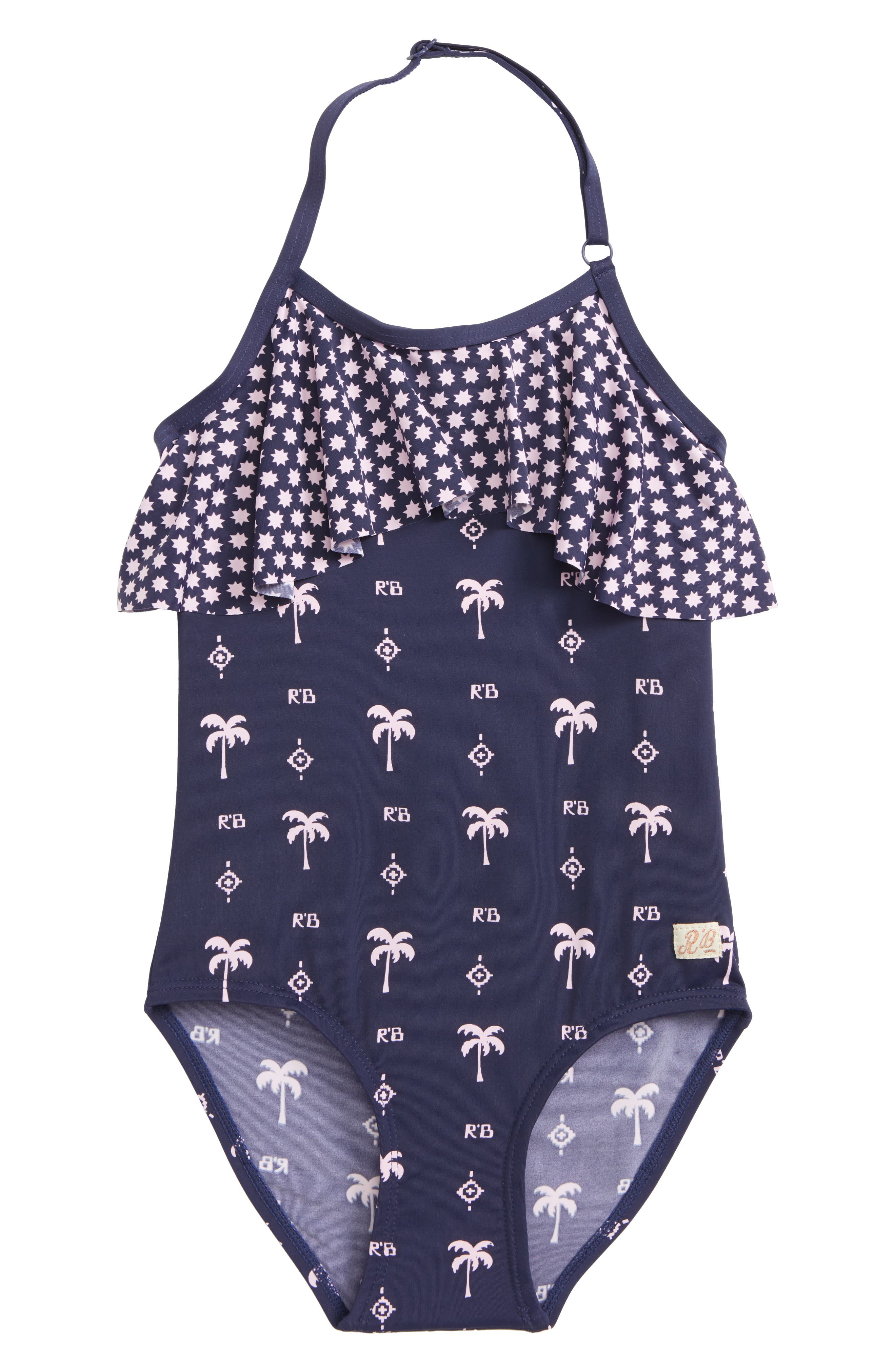 Scoth R'Belle Ruffle One-Piece Swimsuit,                         Main,                         color, Navy Print