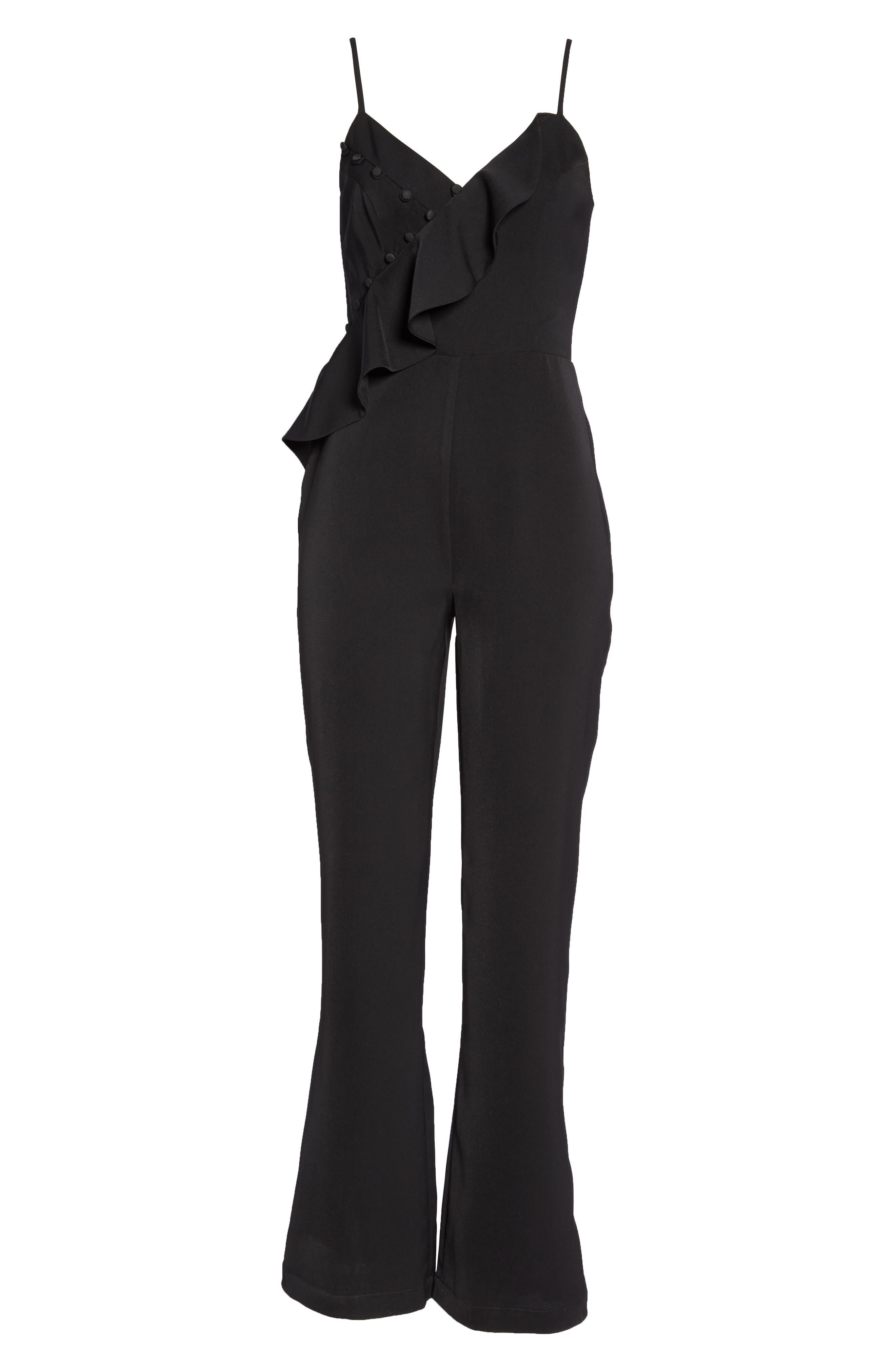 Button Detail Jumpsuit,                             Alternate thumbnail 8, color,                             Black