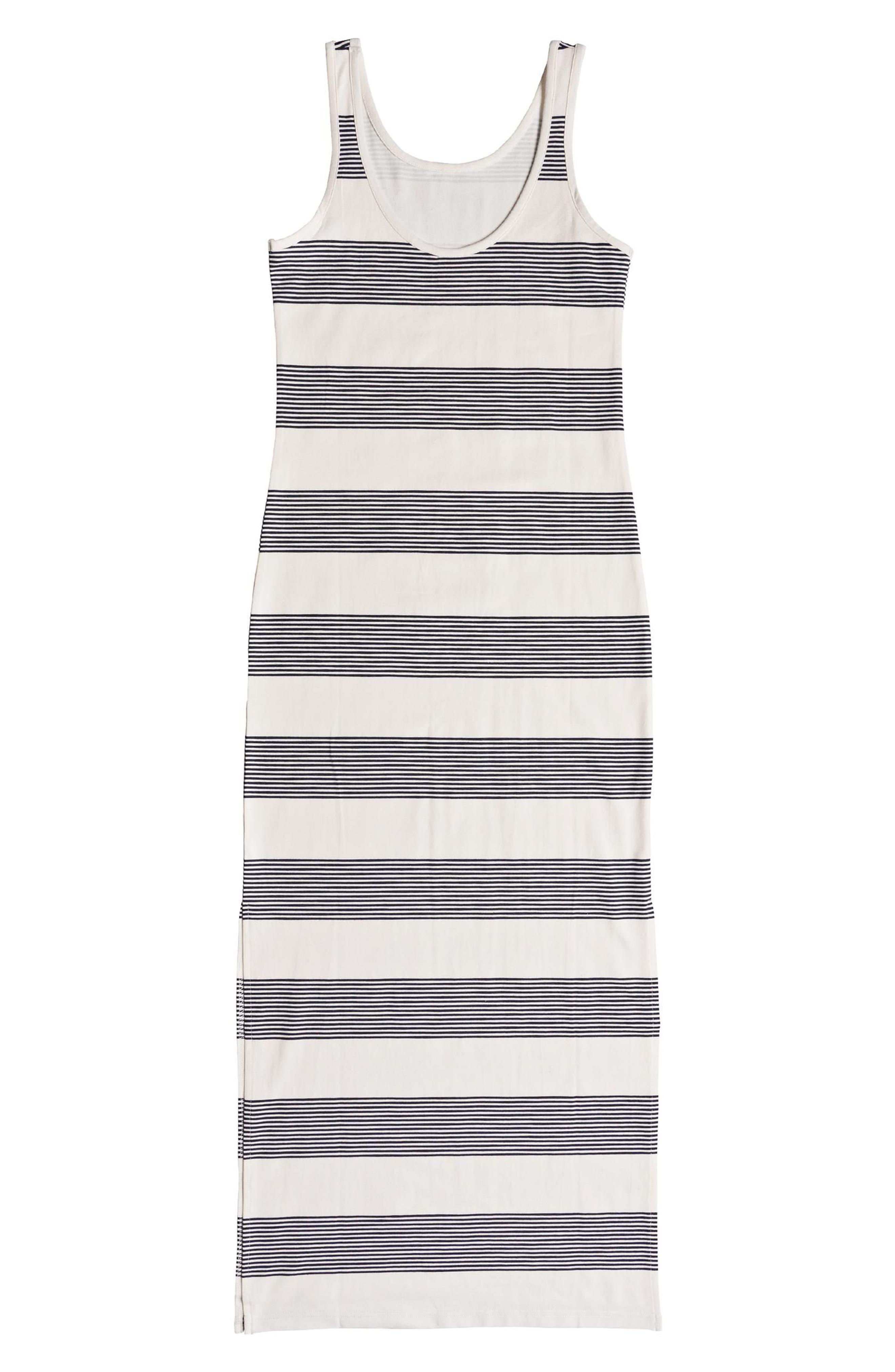 Tuba Stripe Tank Dress,                             Alternate thumbnail 4, color,                             Marshmallow Dress Blue Docker