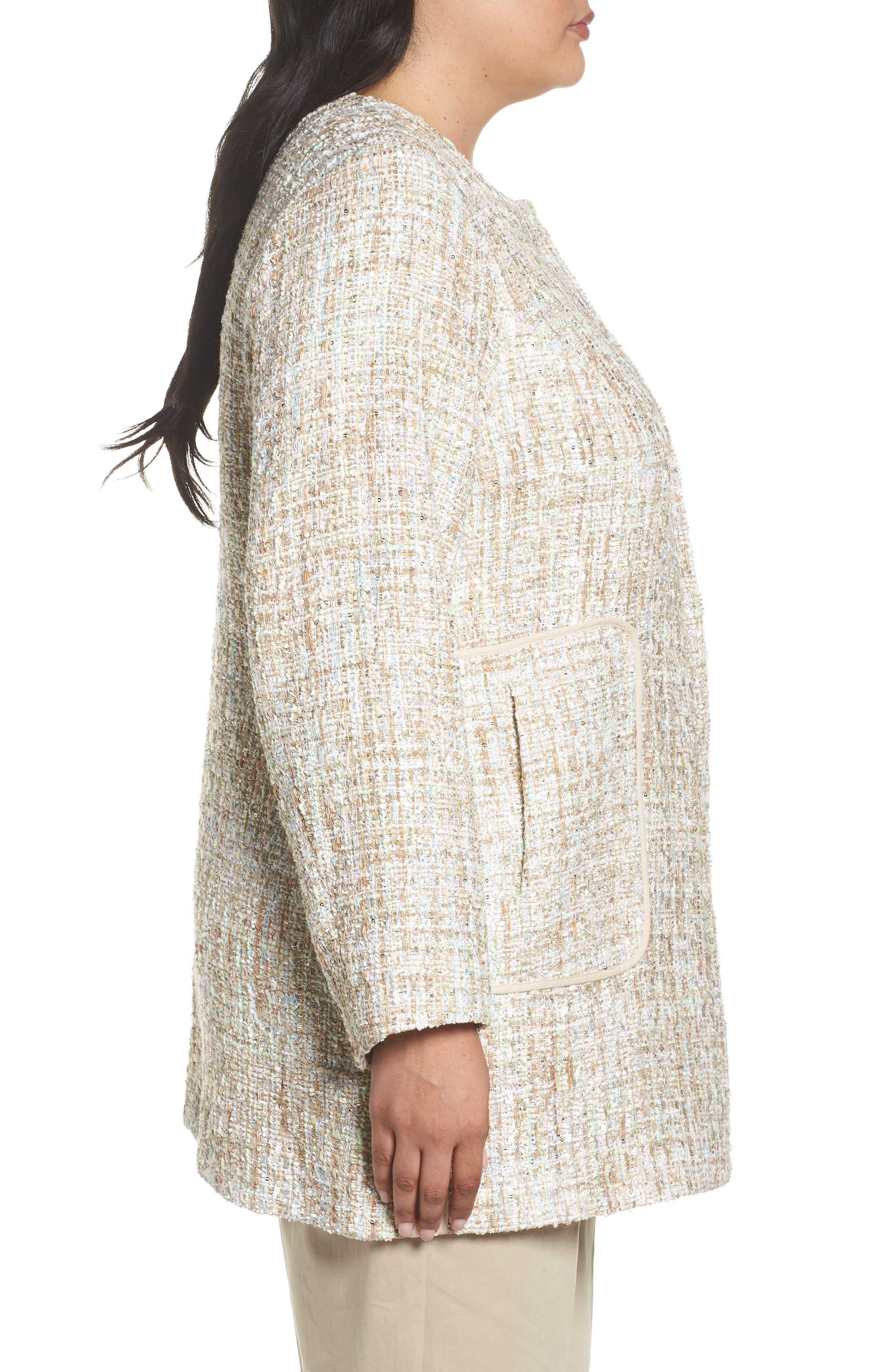 Metallic Tweed Jacket,                             Alternate thumbnail 4, color,                             White