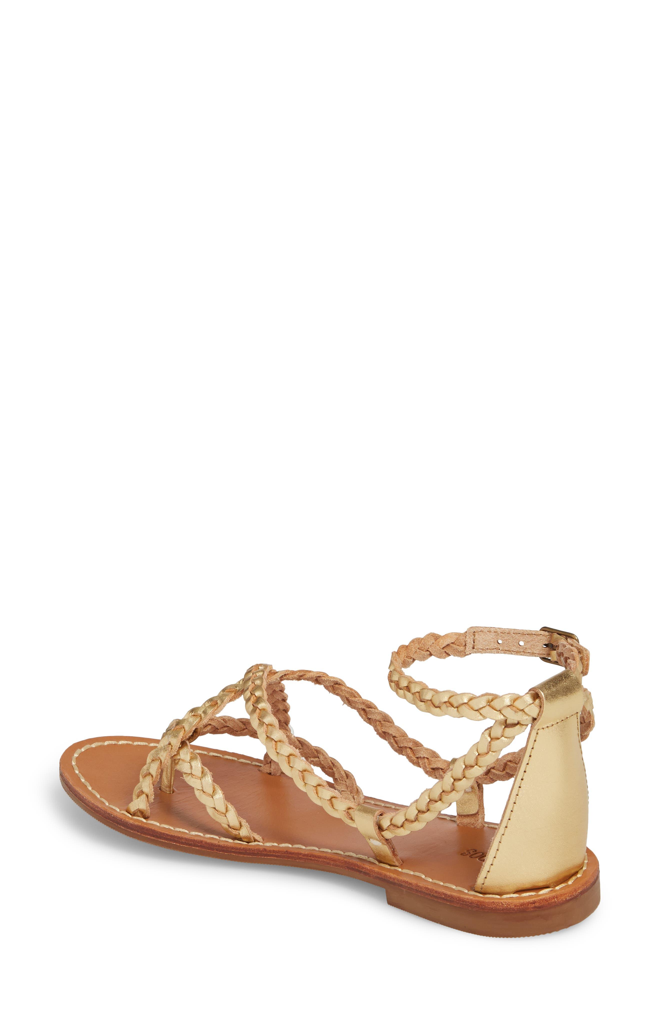 Amalfi Braided Metallic Sandal,                             Alternate thumbnail 2, color,                             Gold Leather