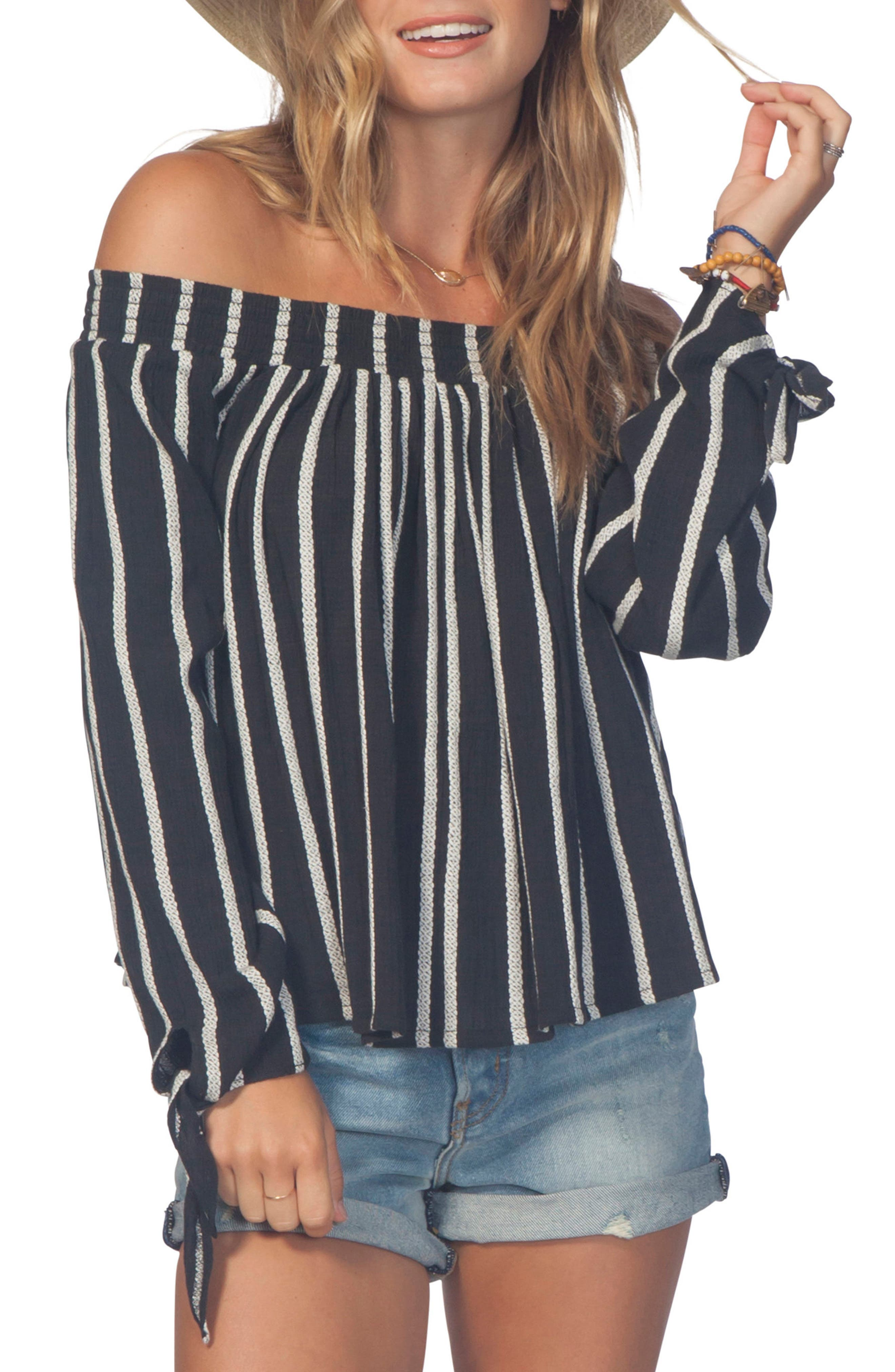 Shoreside Stripe Off The Shoulder Top by Rip Curl