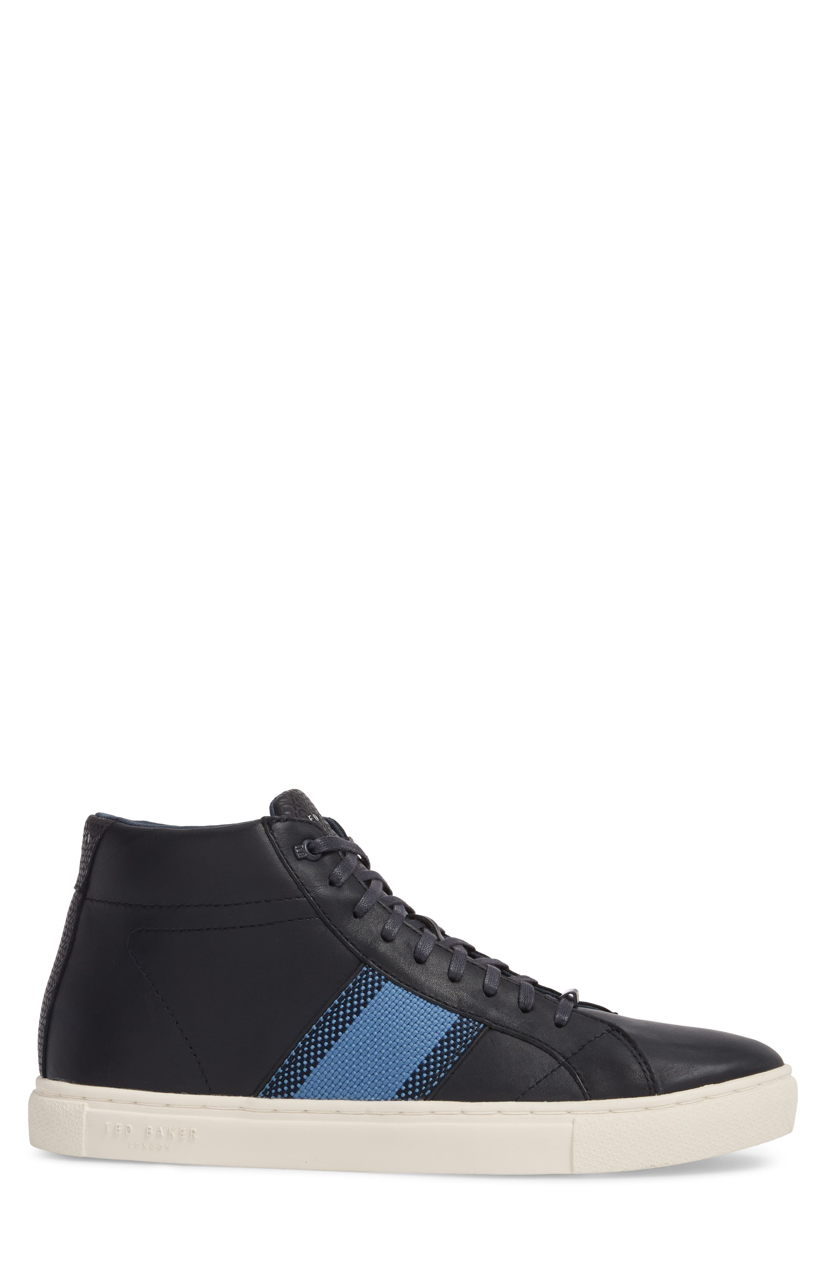 Cruuw High Top Sneaker,                             Alternate thumbnail 3, color,                             Dark Blue Leather