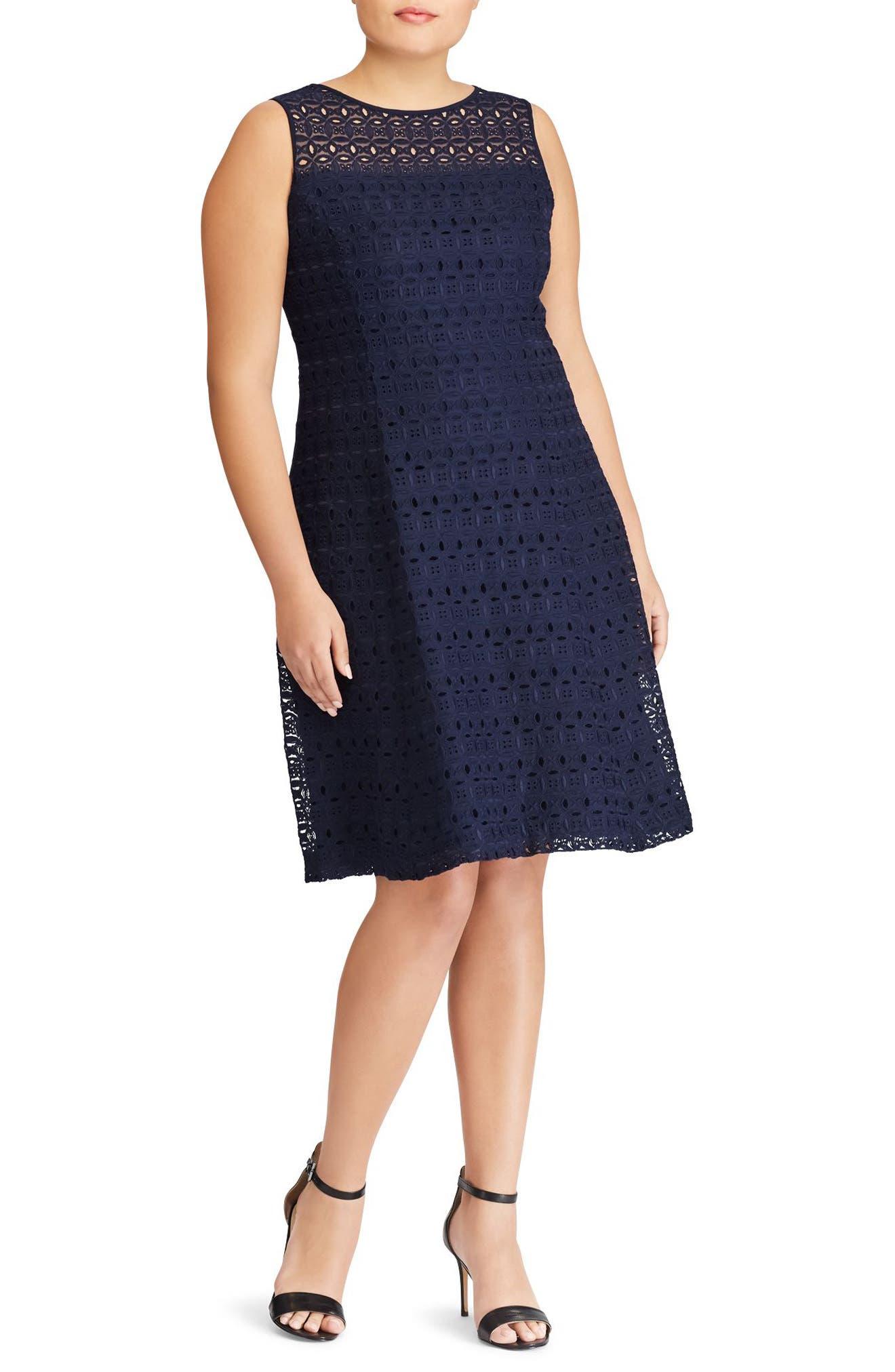 Lauren Ralph Lauren Mondriana Eyelet Fit \u0026 Flare Dress (Plus Size)