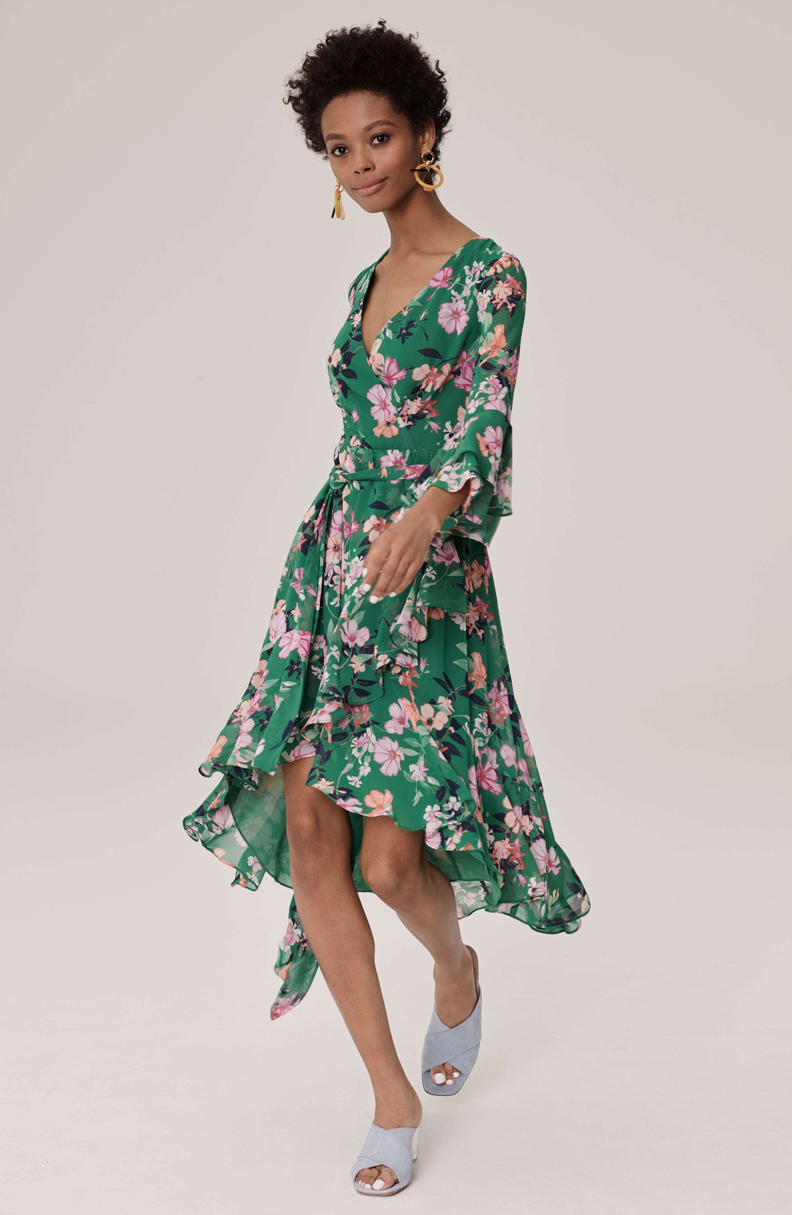 Double Bell Sleeve Faux Wrap Dress,                             Alternate thumbnail 2, color,                             Green