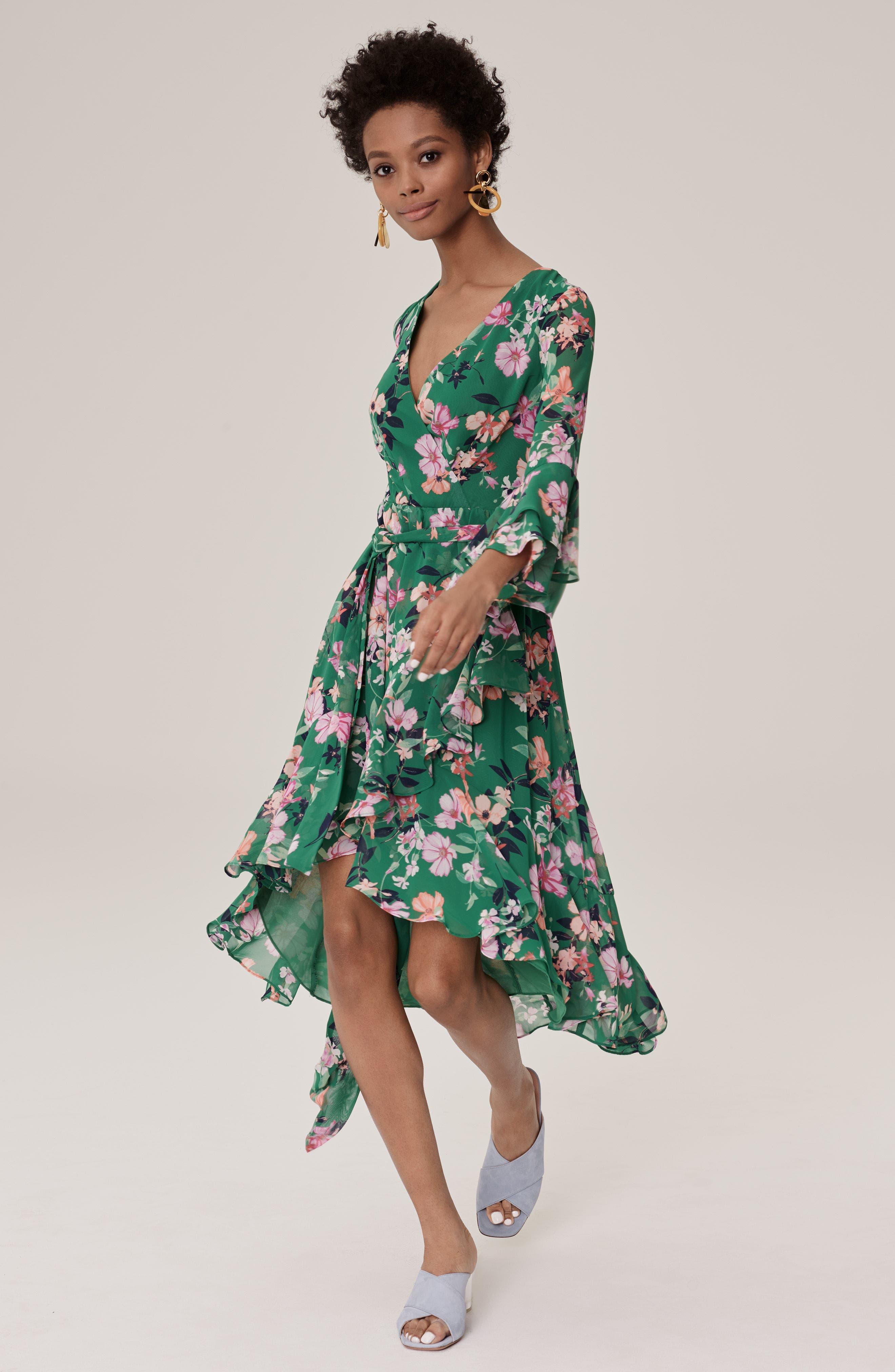 Alternate Image 2  - Eliza J Double Bell Sleeve Faux Wrap Dress (Regular & Petite)