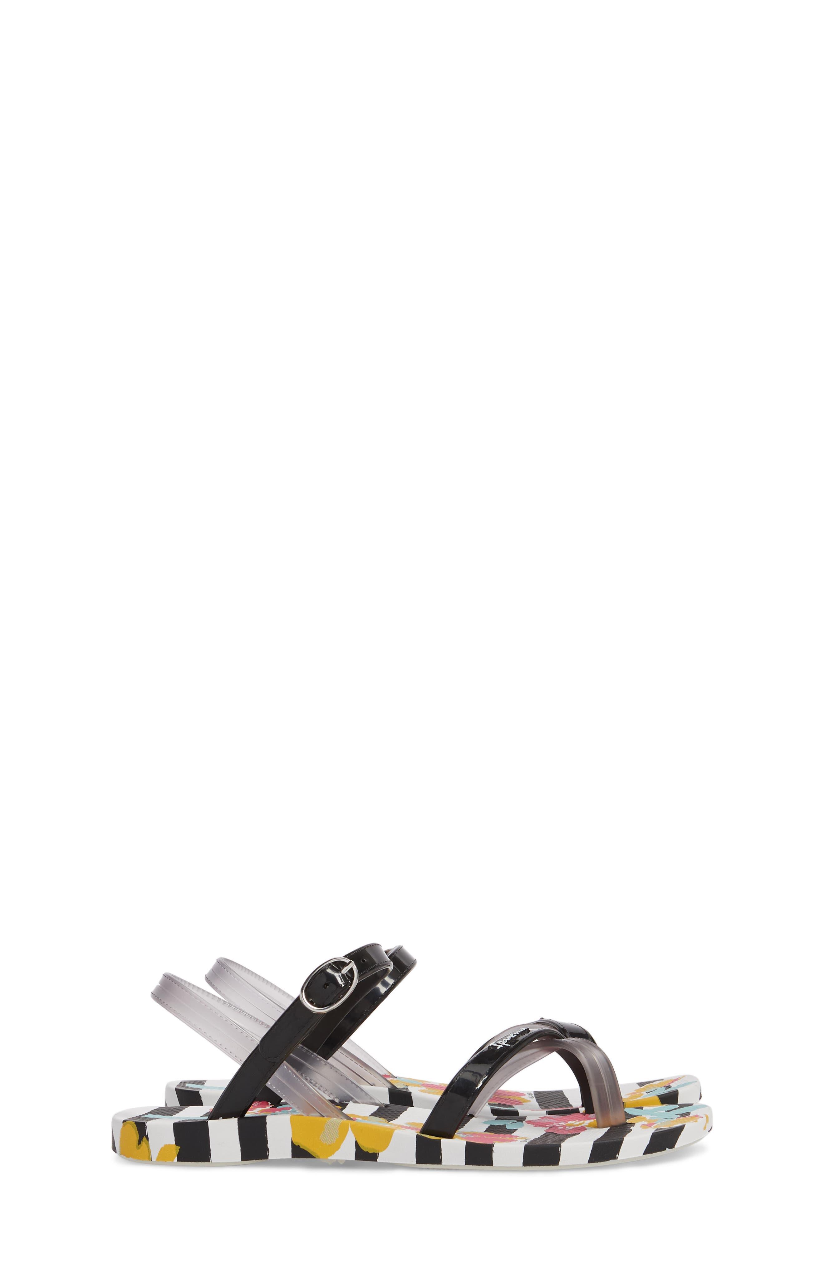 Toe Loop Sandal,                             Alternate thumbnail 4, color,                             White/ Black