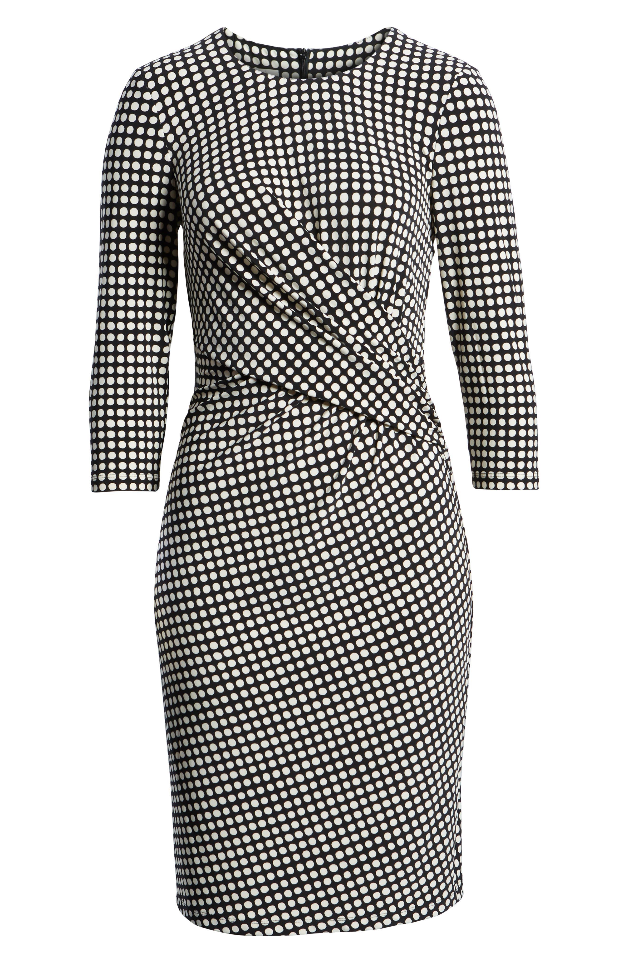 Polka Dot Faux Wrap Dress,                             Alternate thumbnail 7, color,                             Black/ Parchment